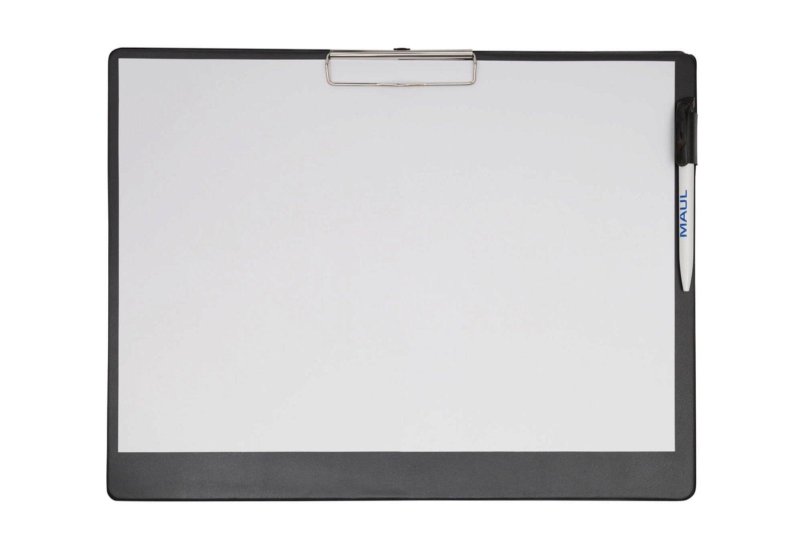 A3 Schreibplatte mit Folien- überzug, Klemmer lange Seite, schwarz