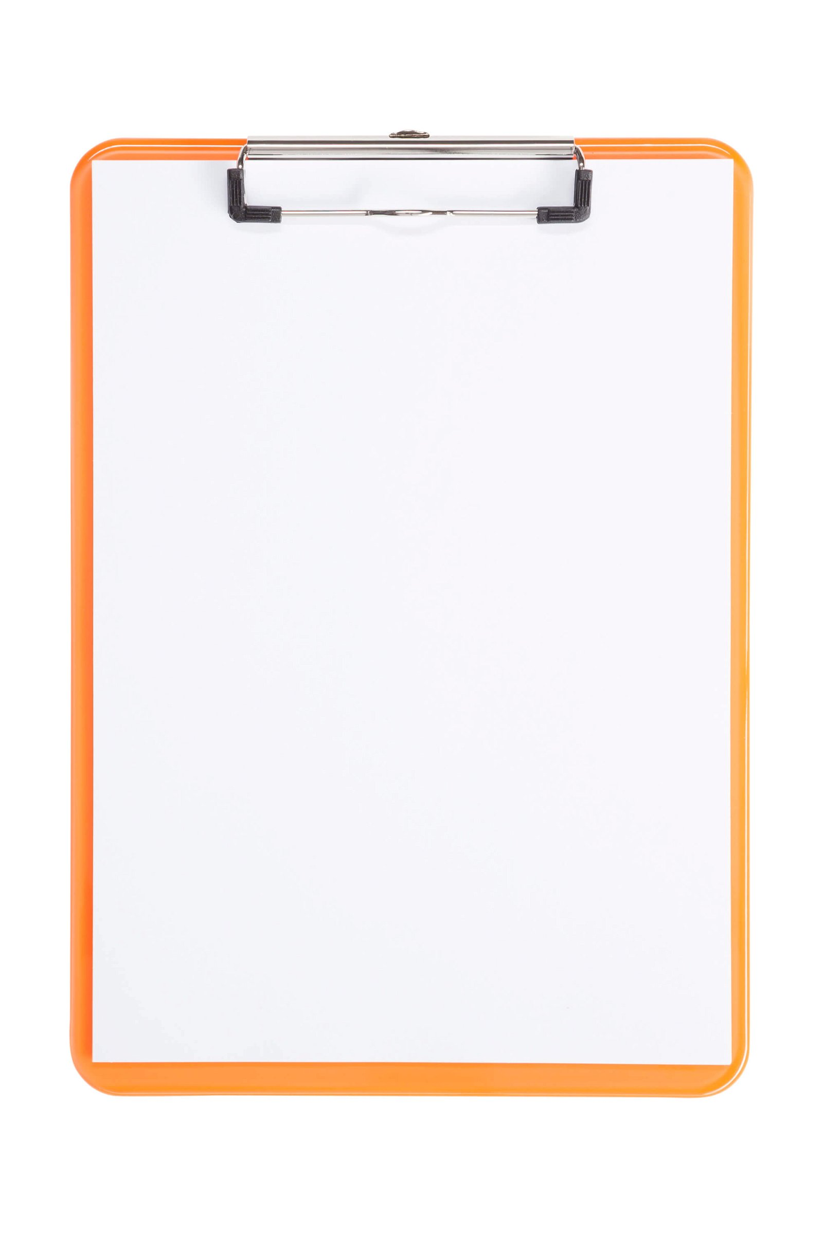 A4 Schreibplatte MAULneon Kunststoff mit Bügelklemme, transparent orange