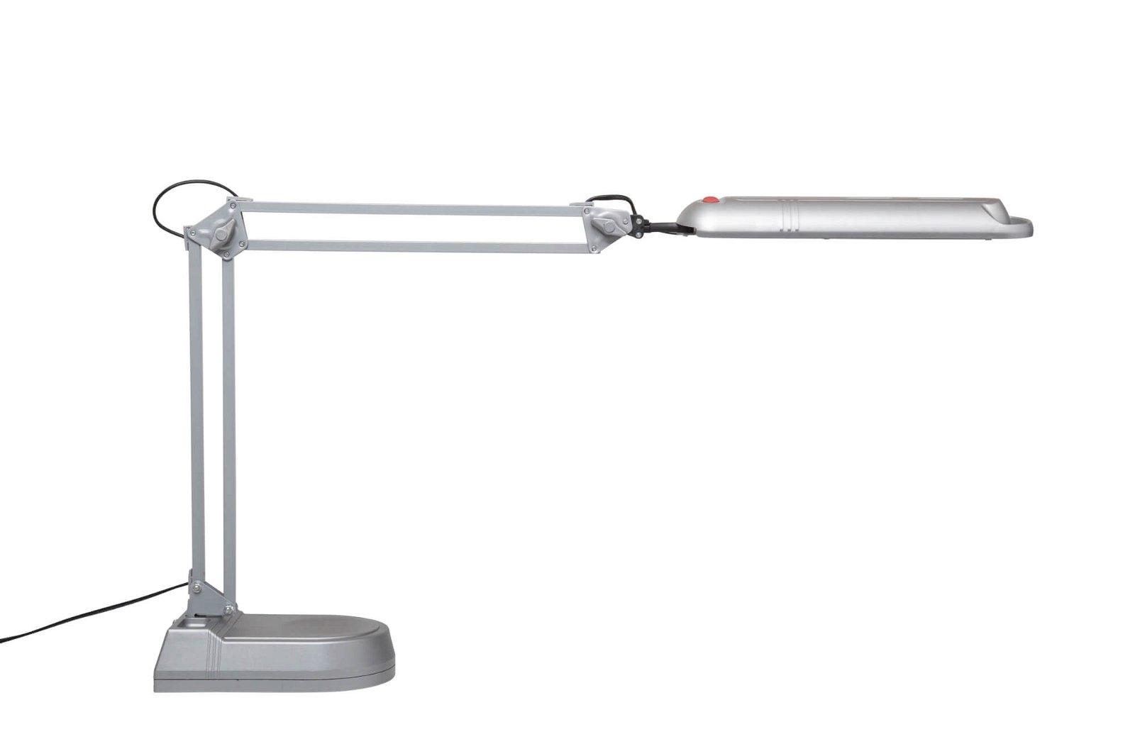 Energiespar-Tischleuchte MAULatlantic, mit Standfuß, silber