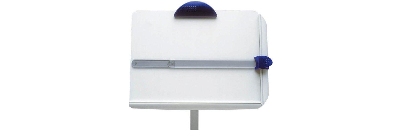Konzepthalter Universal mit Tragarm und Fußplatte, grau