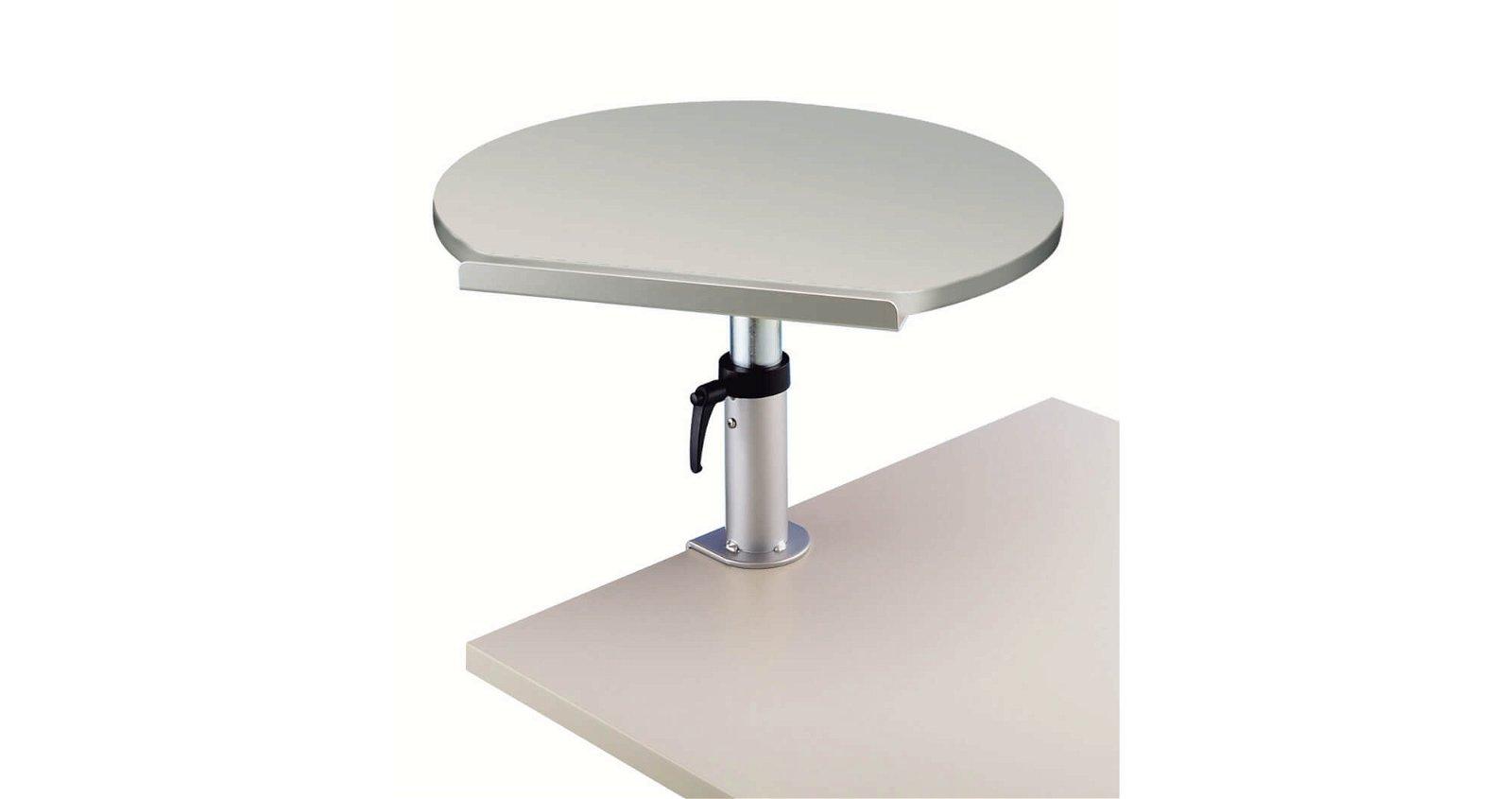 Ergonomisches Tischpult, Klem- mfuß, Platte aus Melamin, grau