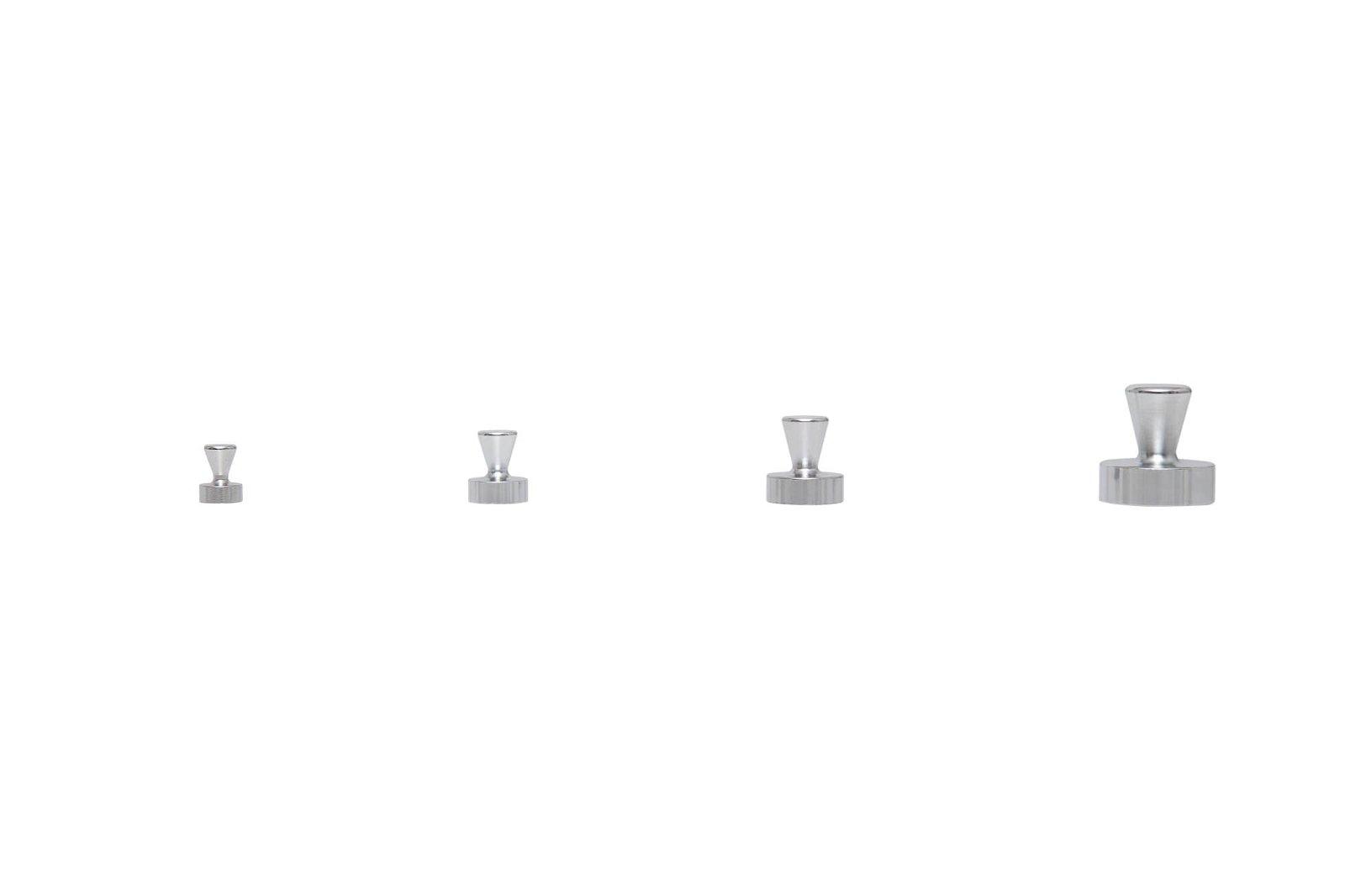 Neodym-Kegelmagnet, Ø 15 mm, 7 kg Haftkraft, 4 St./Set, hellsilber