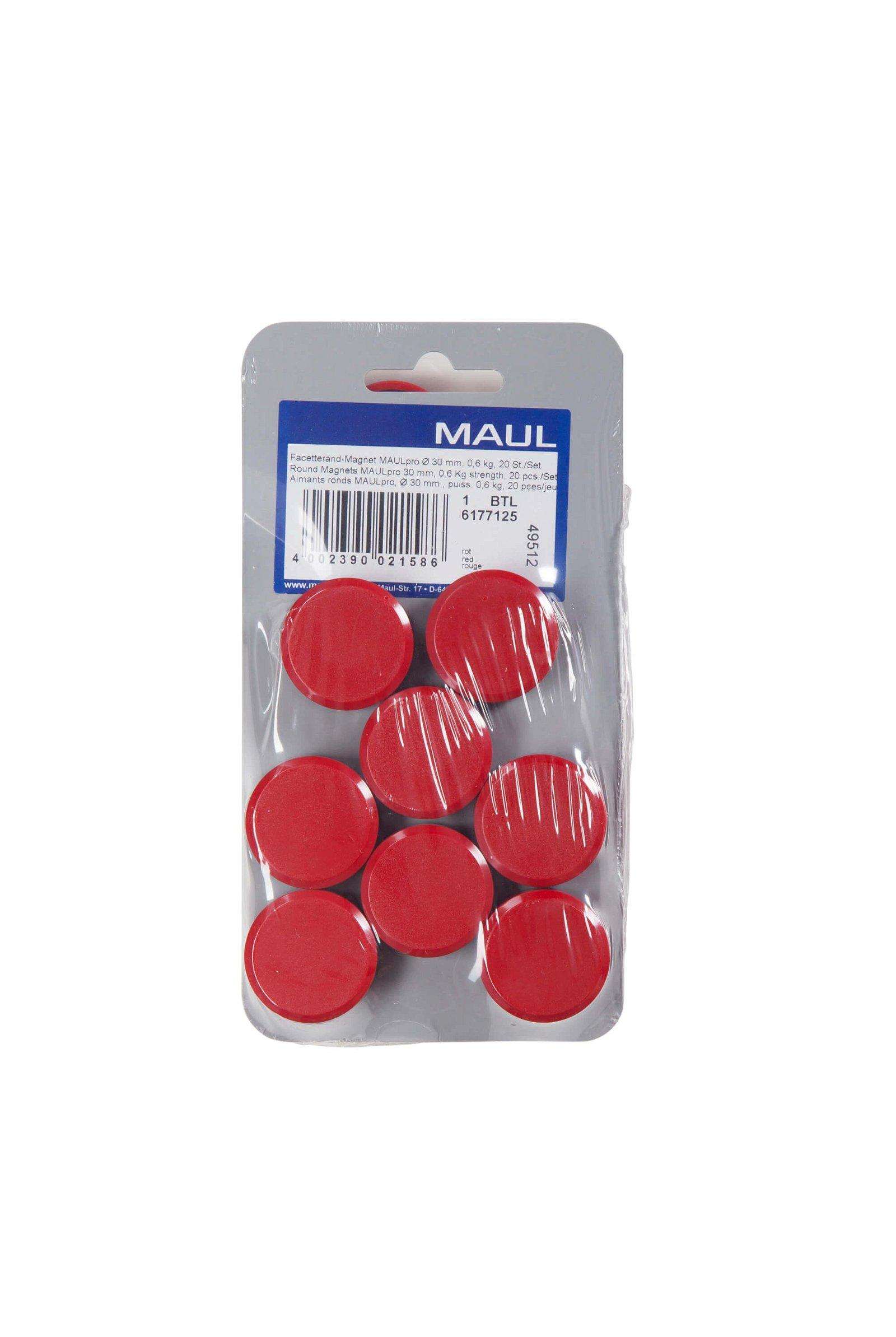 Facetterand-Magnet MAULpro Ø 30 mm, 0,6 kg, 20 St./Set, rot