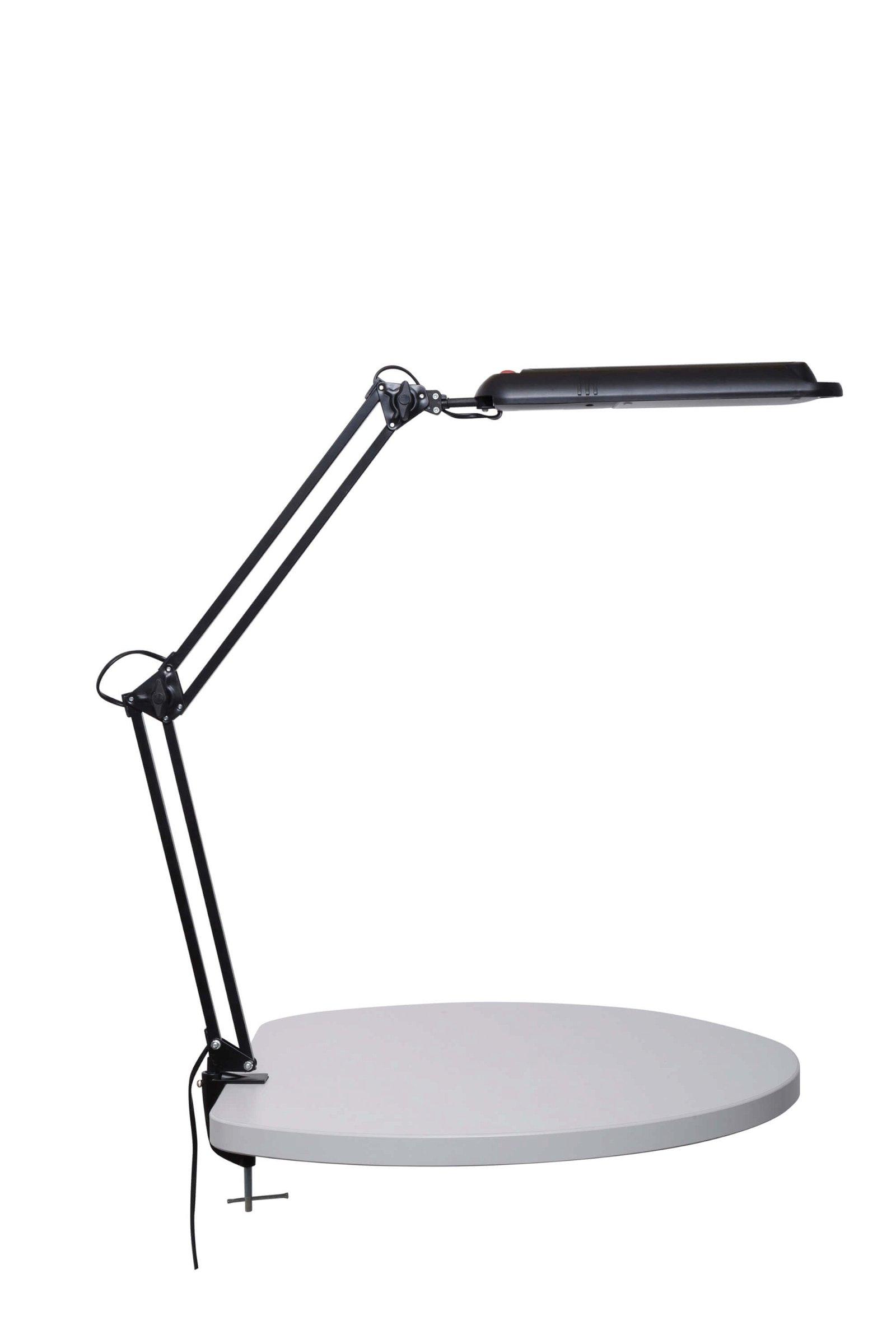 Energiespar-Tischleuchte MAULatlantic, mit Klemmfuß, schwarz
