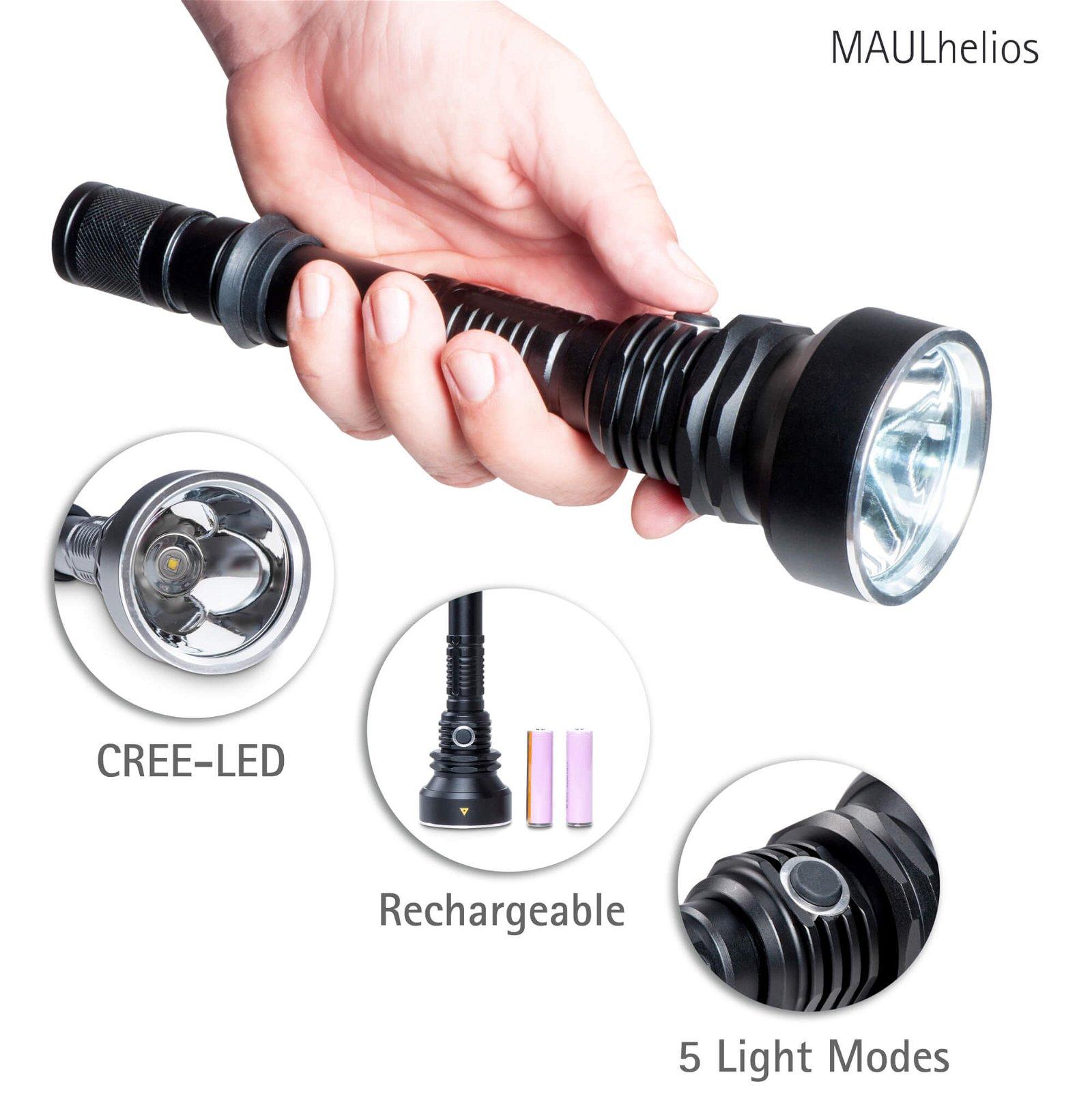 LED-Taschenlampe MAULhelios Infografik