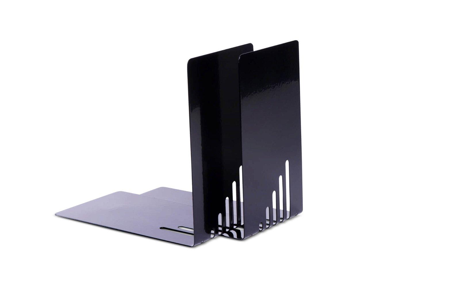 Buchstützen aus Metall, schmal, 14 x 8,5 x 14 cm, schwarz