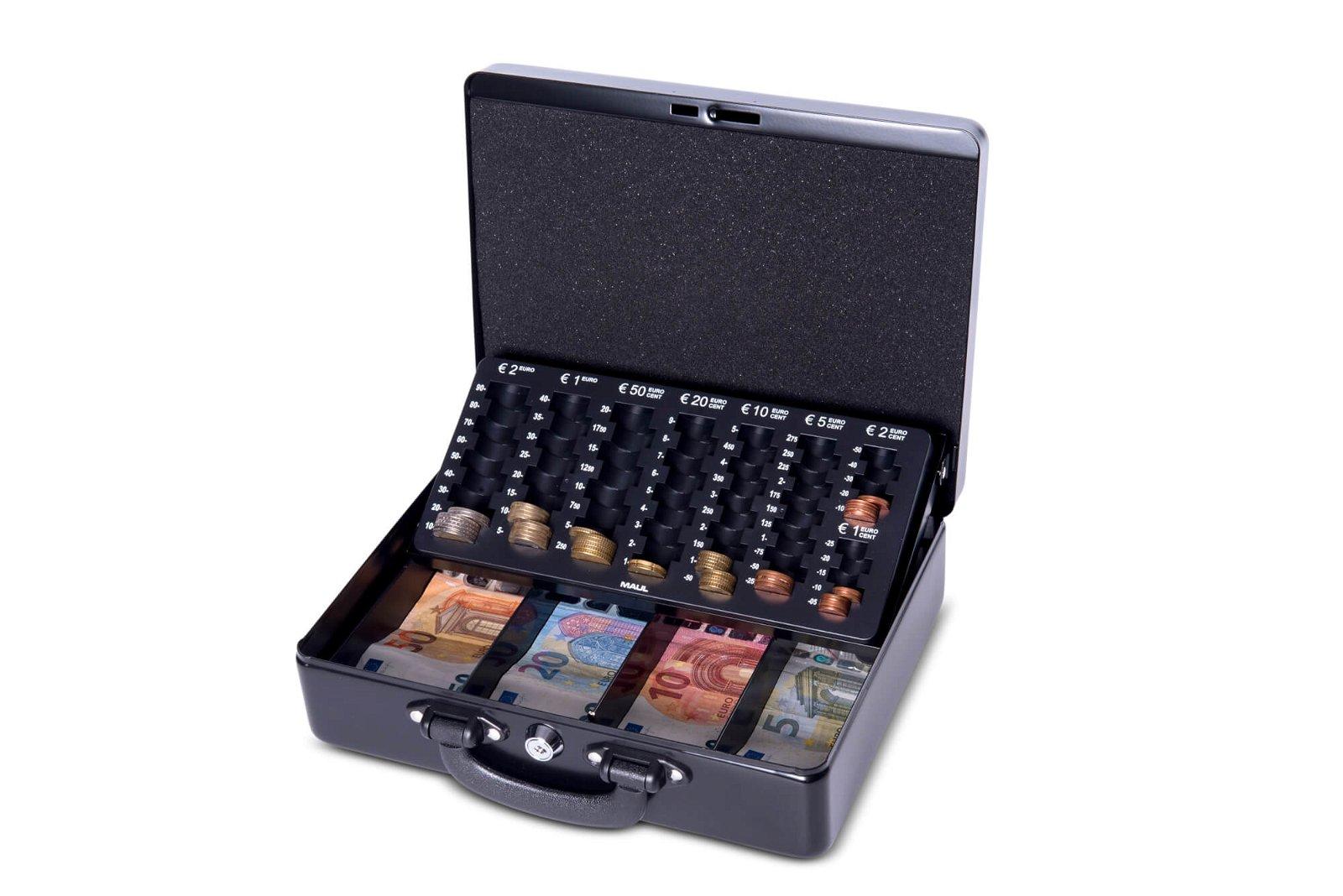 Geldkassette mit Euro-Zähl- -Einsatz, 30 x 24,5 x 9,3 cm, schwarz