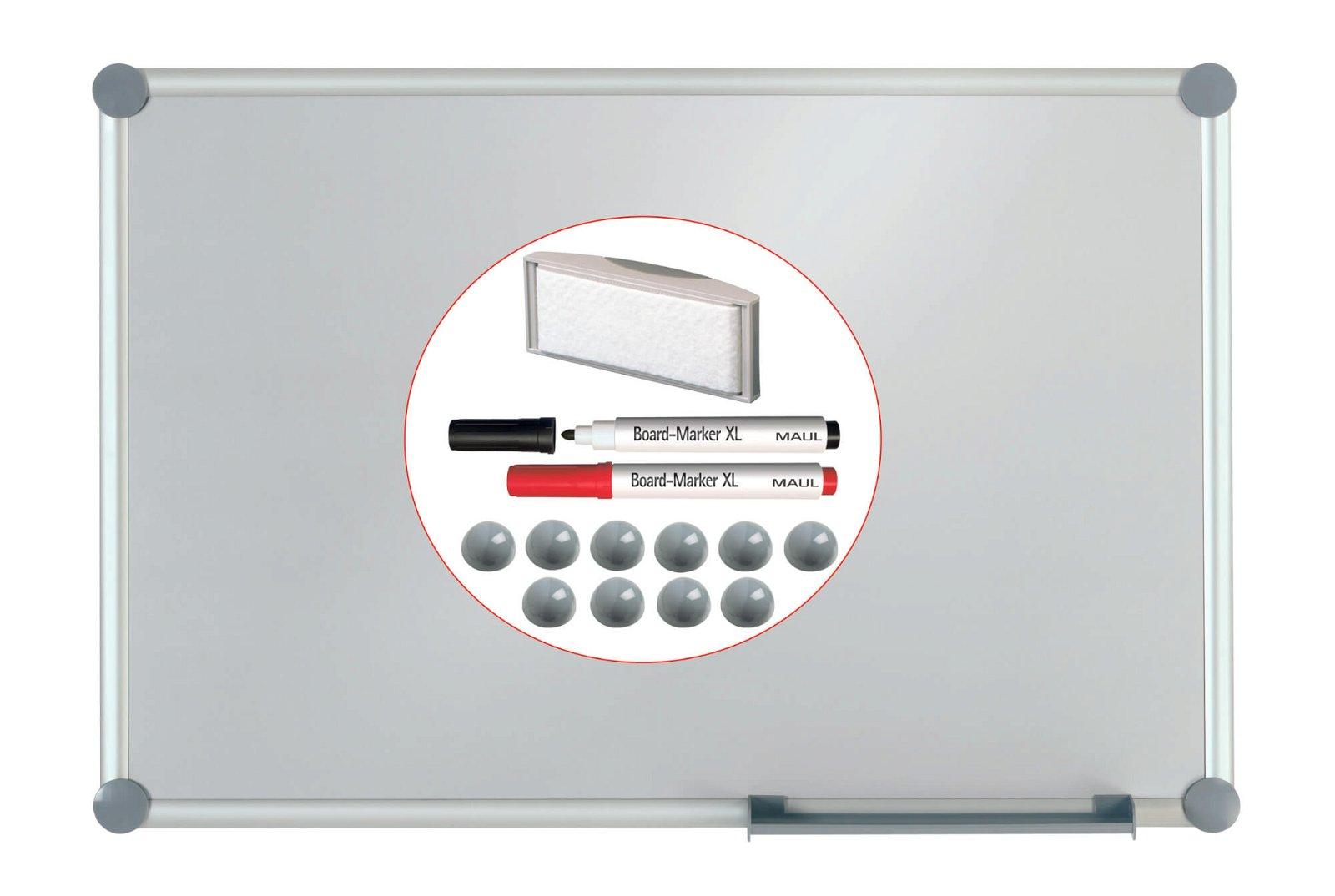 Whiteboard 2000 MAULpro, Komplett-Set silver, 60x90cm, grau