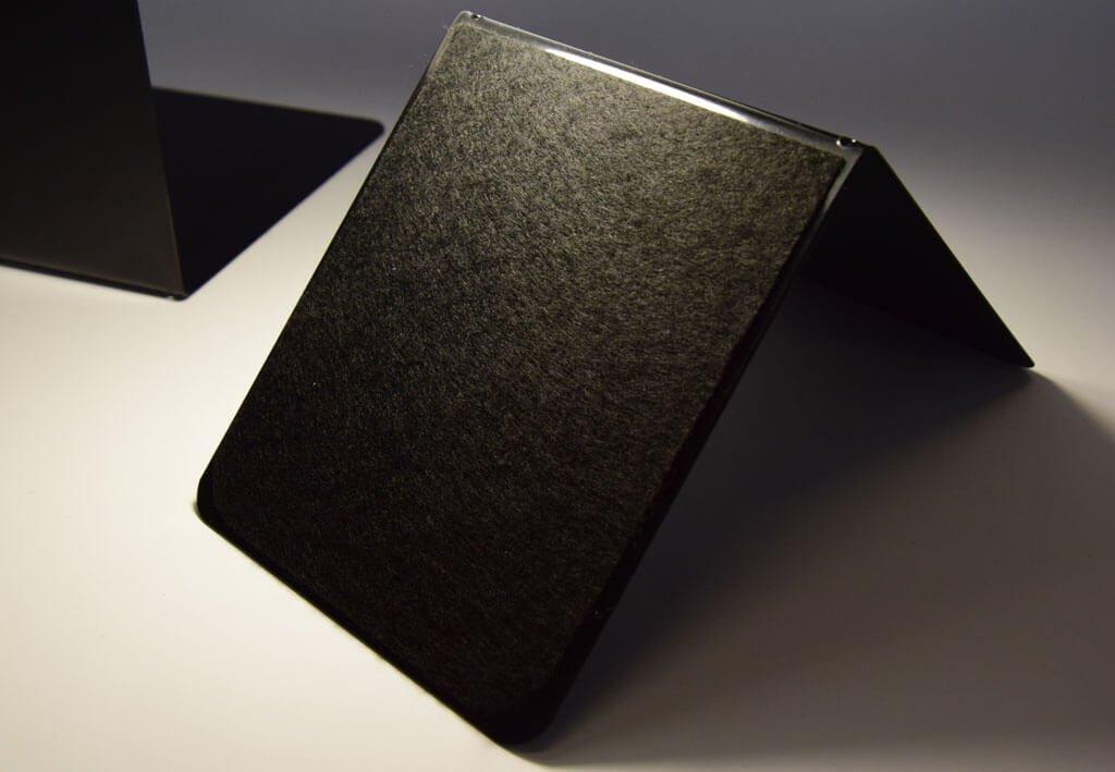 Buchstützen mit Oberflächen- schutz, 14 x 12 x 14 cm, schwarz