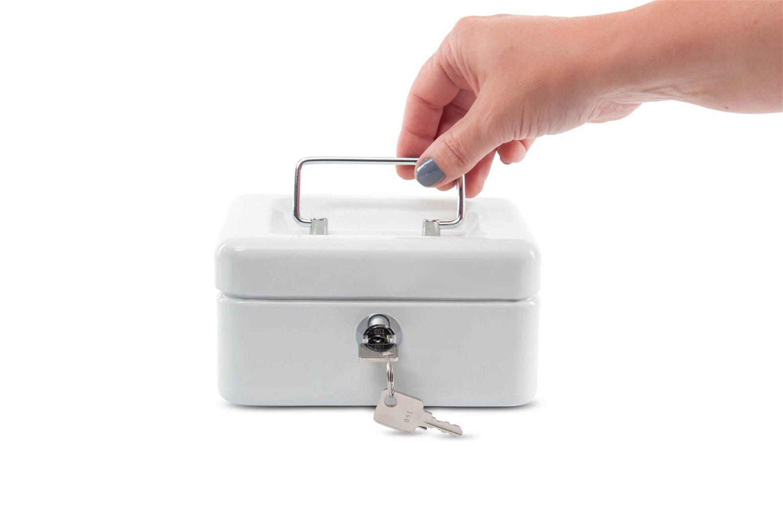 Geldkassette 1, 15,2 x 12,5 x 8,1 cm, weiß