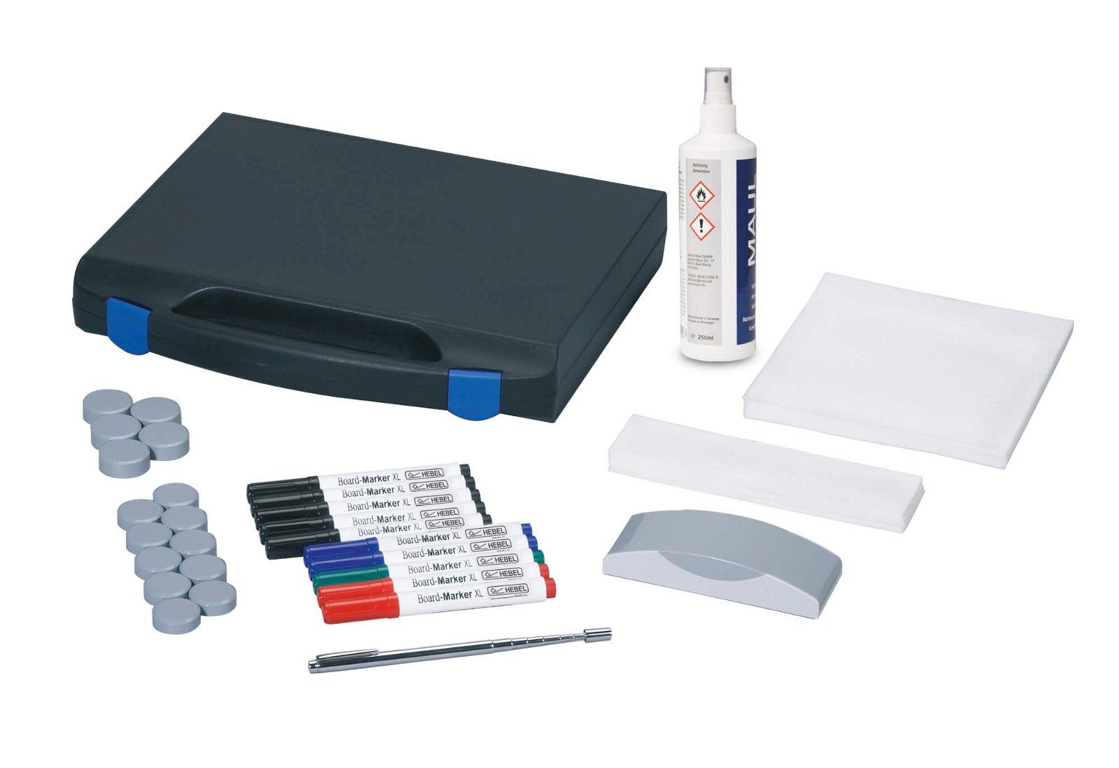 Whiteboard Zubehör-Set, Kunststoffkoffer, farbig sortiert