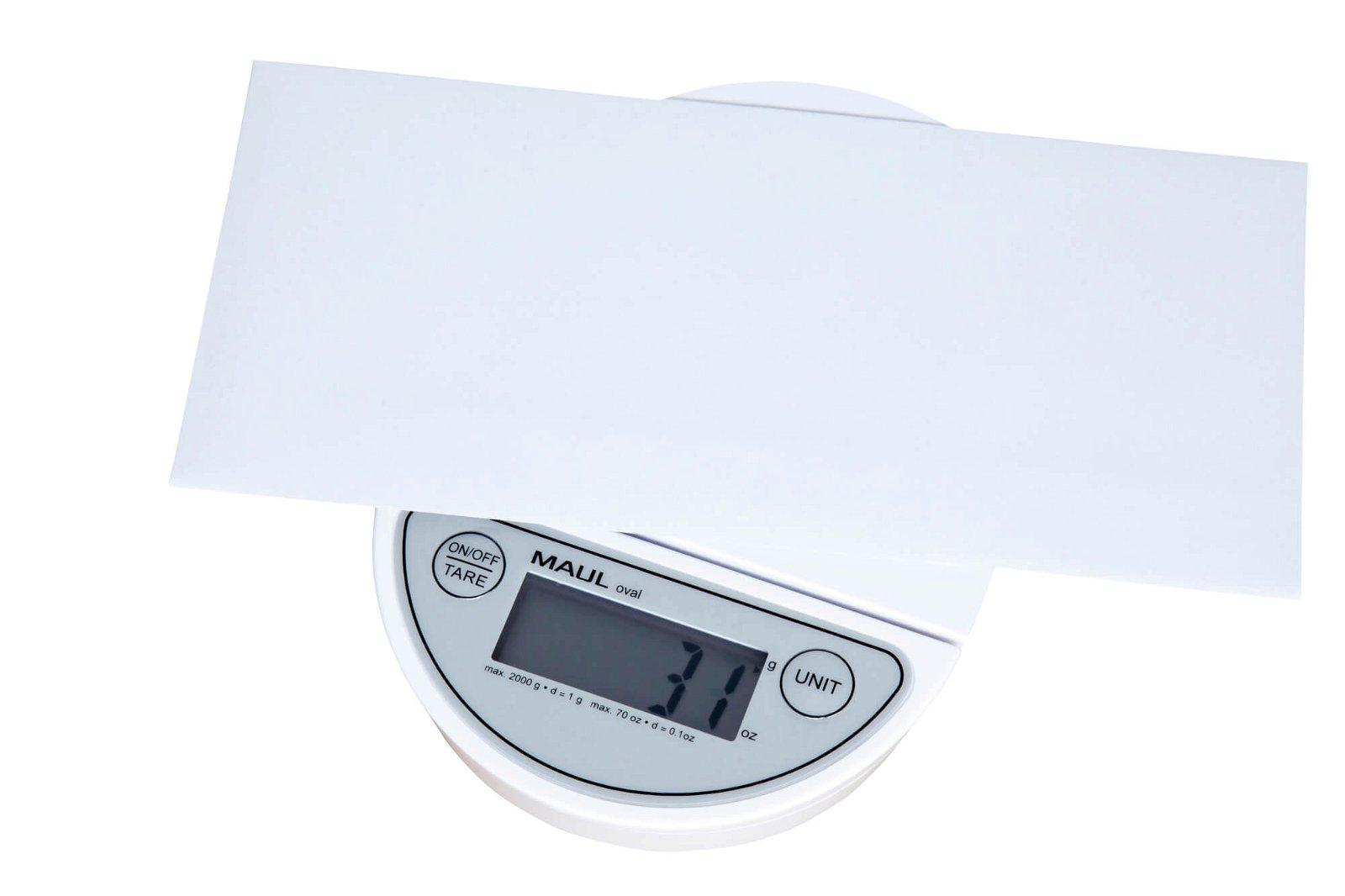 Briefwaage MAULoval mit Batterie, 2000 g, weiß