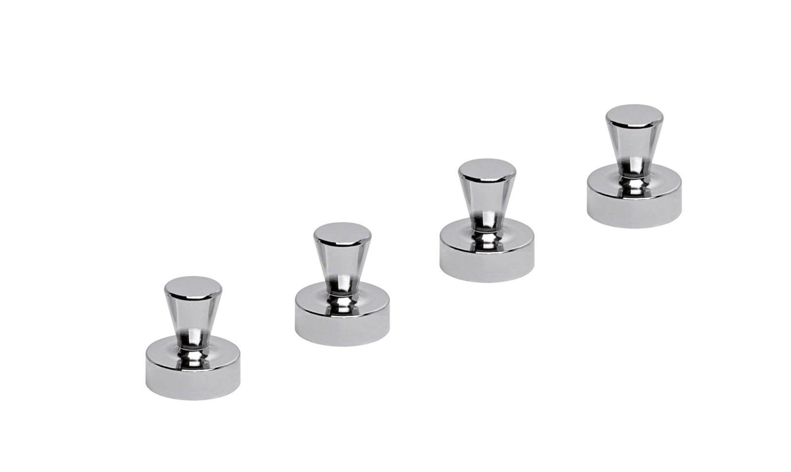 Neodym-Kegelmagnet, Ø 20 mm, 14 kg Haftkraft, 4 St./Set, hellsilber
