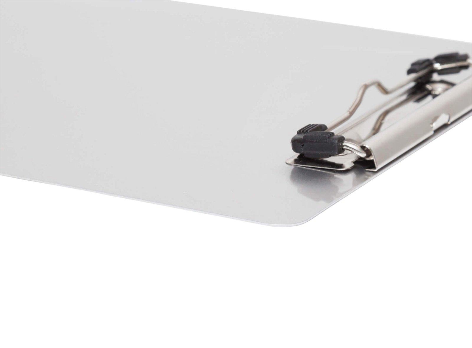 Schreibplatte, Aluminium mit Magnetband und Bügelklemme