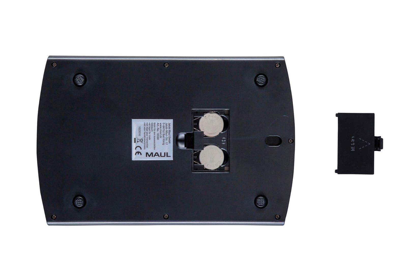 Briefwaage MAULsteel ll mit Batterie, 5000 g, hellsilber