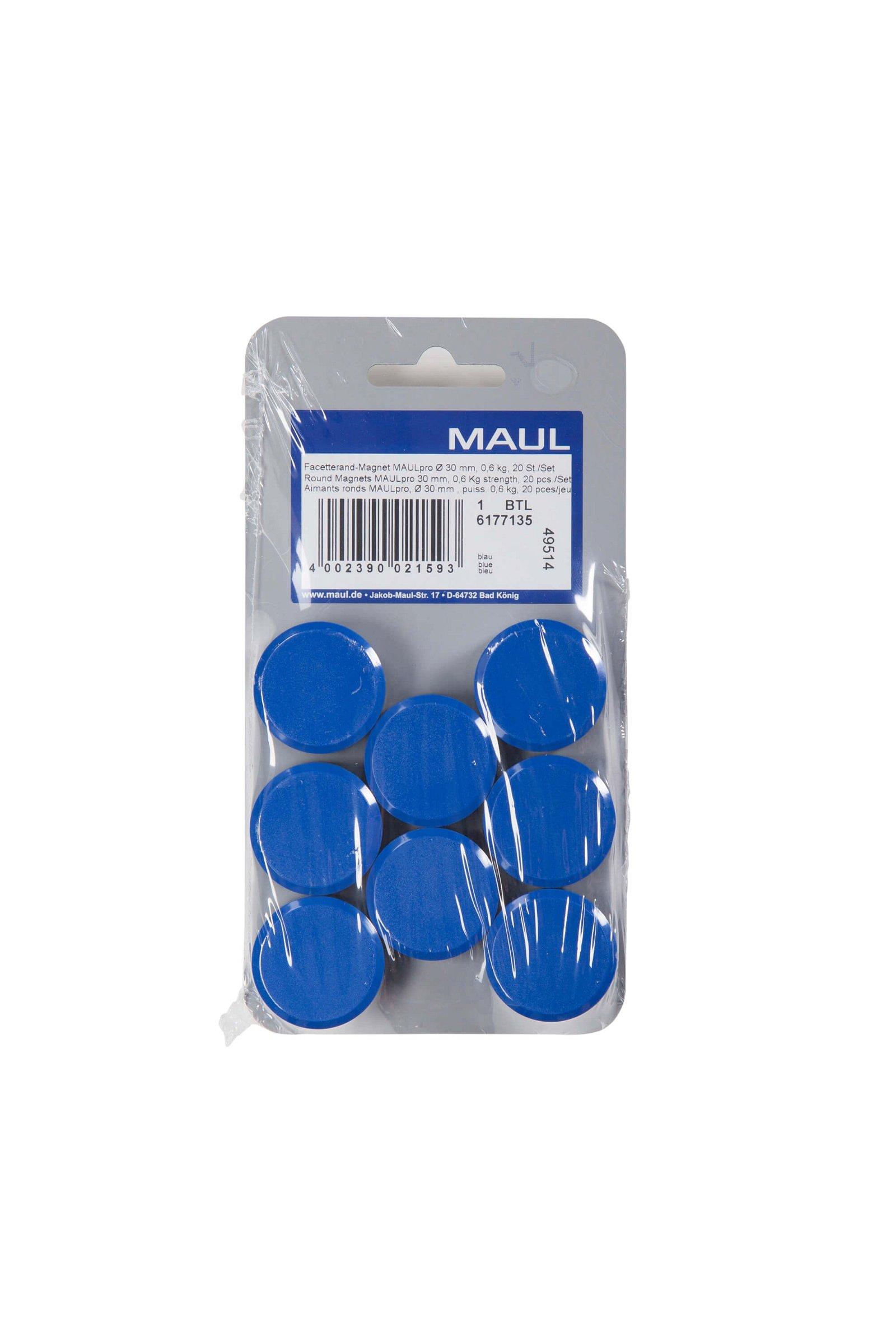 Facetterand-Magnet MAULpro Ø 30 mm, 0,6 kg, 20 St./Set, blau