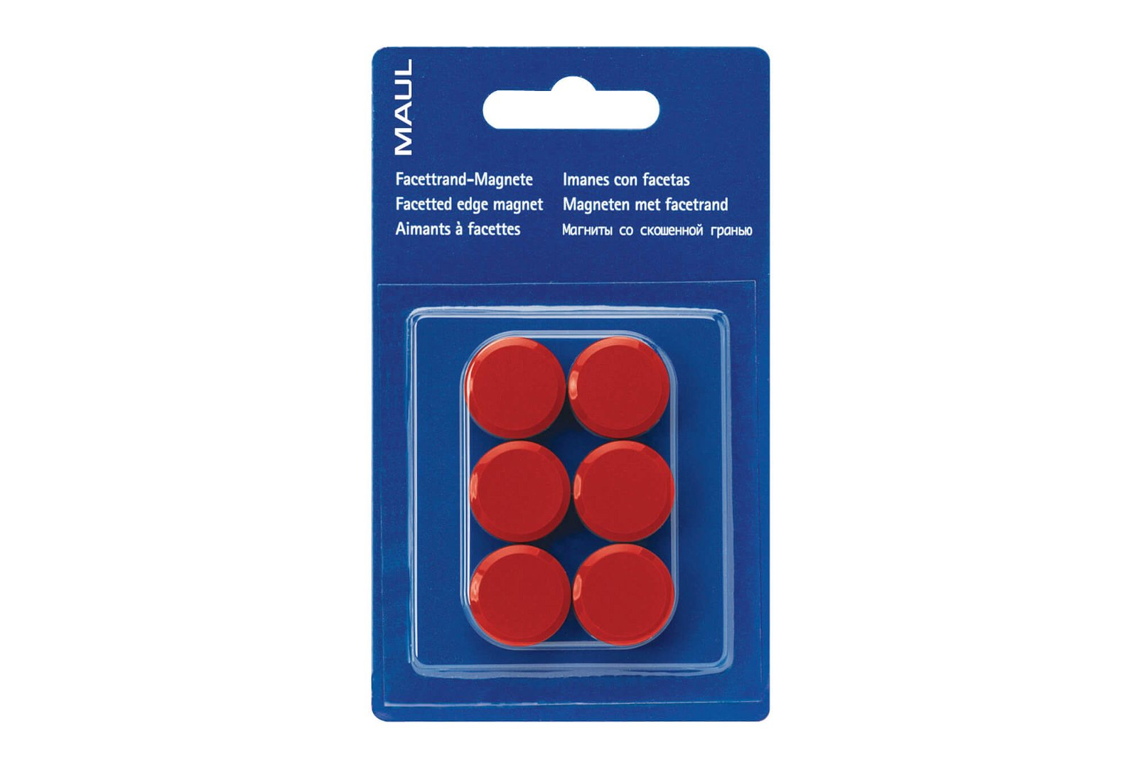 Facetterand-Magnet MAULpro SB Ø 20 mm, 0,3 kg, 6 St./Set, rot