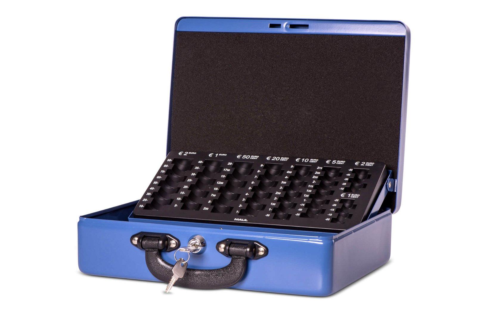 Geldkassette mit Euro-Zähl- -Einsatz, 30 x 24,5 x 9,3 cm, blau