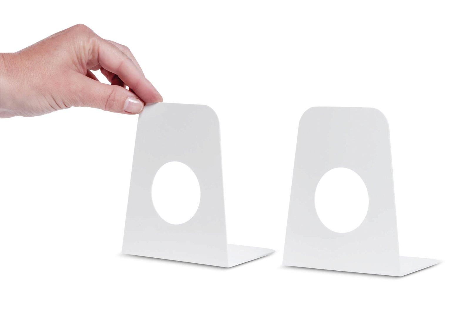 Buchstützen aus Kunststoff, 9 x 10,5 x 12 cm, weiß