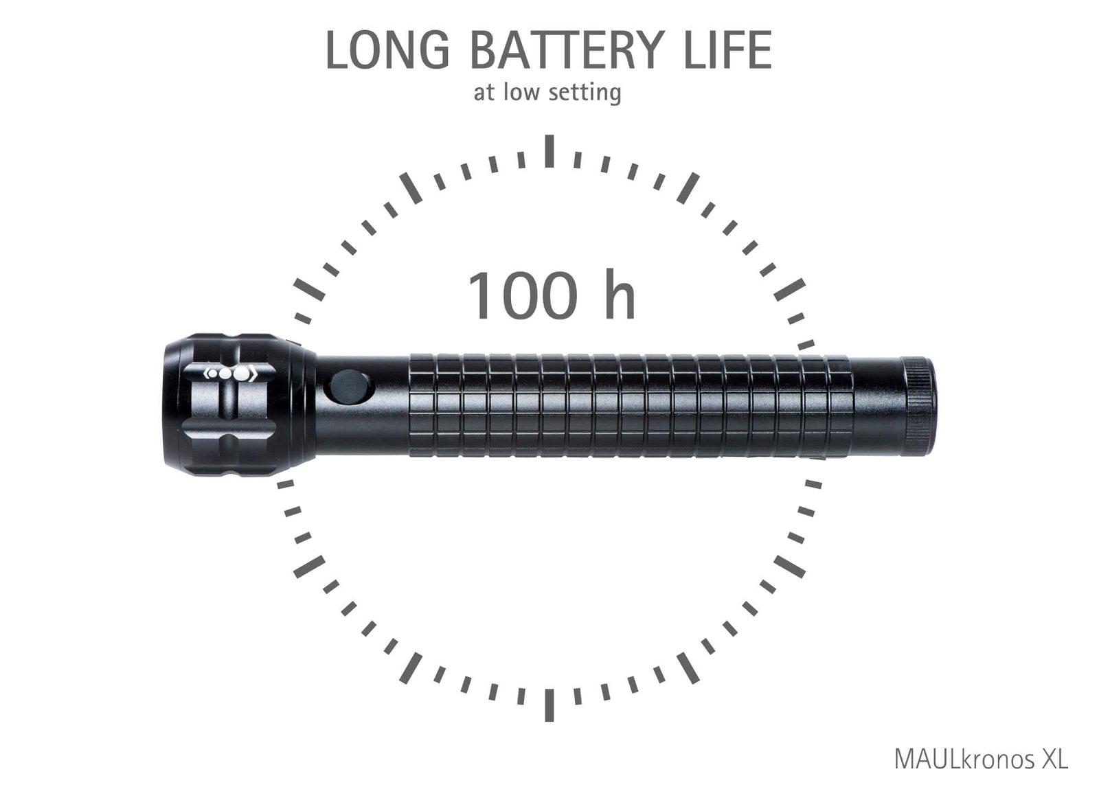 LED-Taschenlampe MAULkronos XL Leuchtdauer