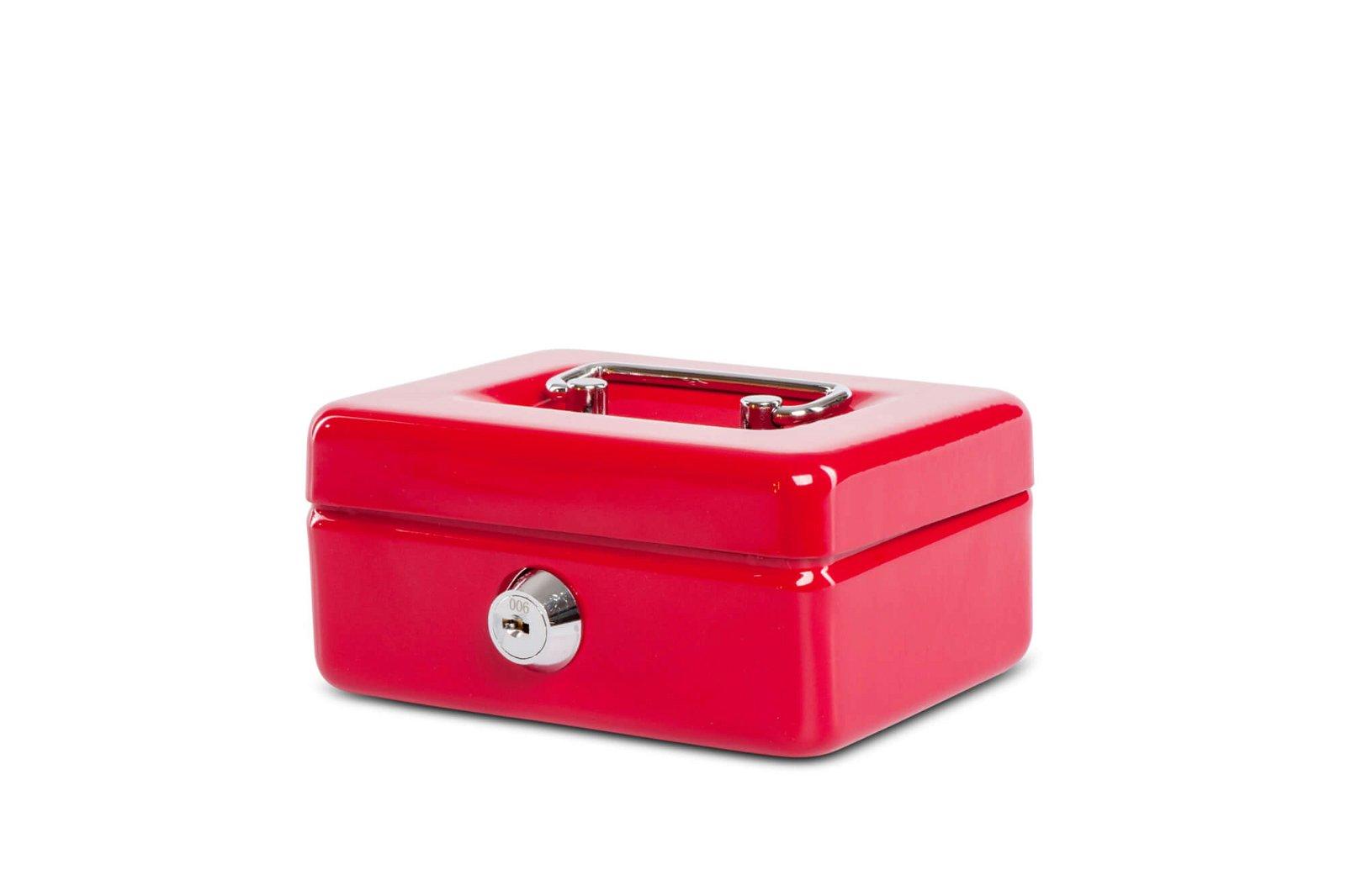 Geldkassette mit Münzeinwurf, 12,5 x 9,5 x 6 cm, rot