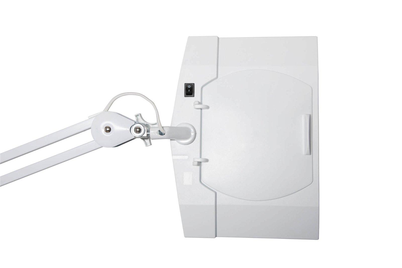 LED-Lupenleuchte MAULvitrum, mit Klemmfuß, weiß