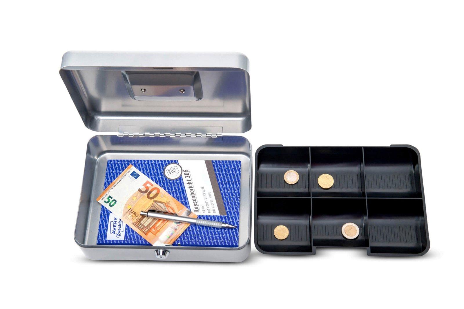 Geldkassette 3, 25 x 19,1 x 9 cm, silber