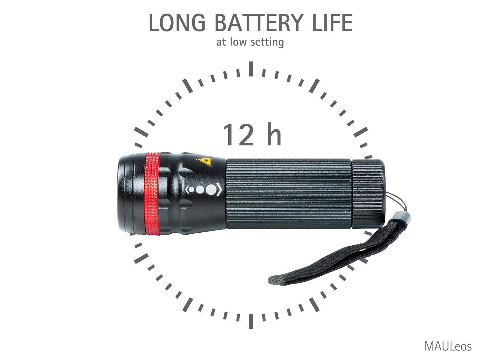 LED-Taschenlampe MAULeos Leuchtdauer