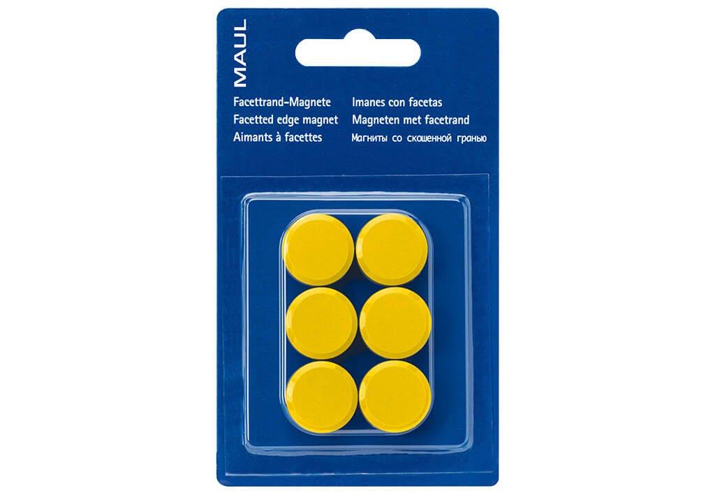 Facetterand-Magnet MAULpro SB Ø 20 mm, 0,3 kg, 6 St./Set, gelb