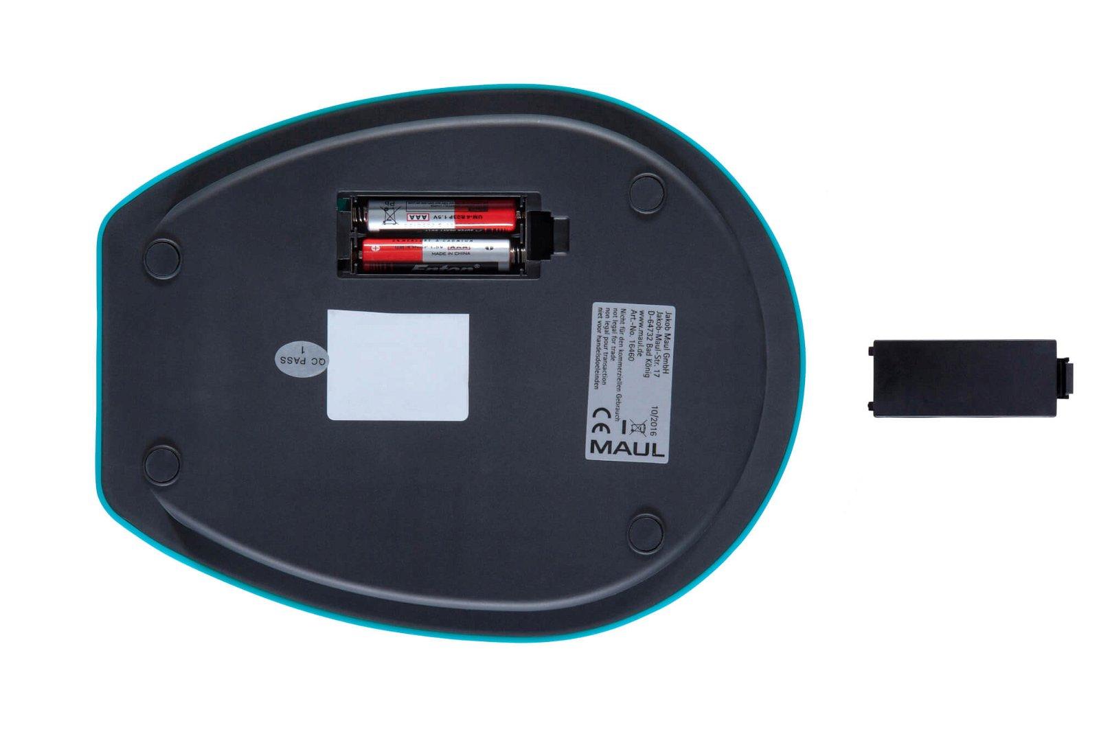 Briefwaage MAULgoal mit Batterie, 5000 g, hellblau