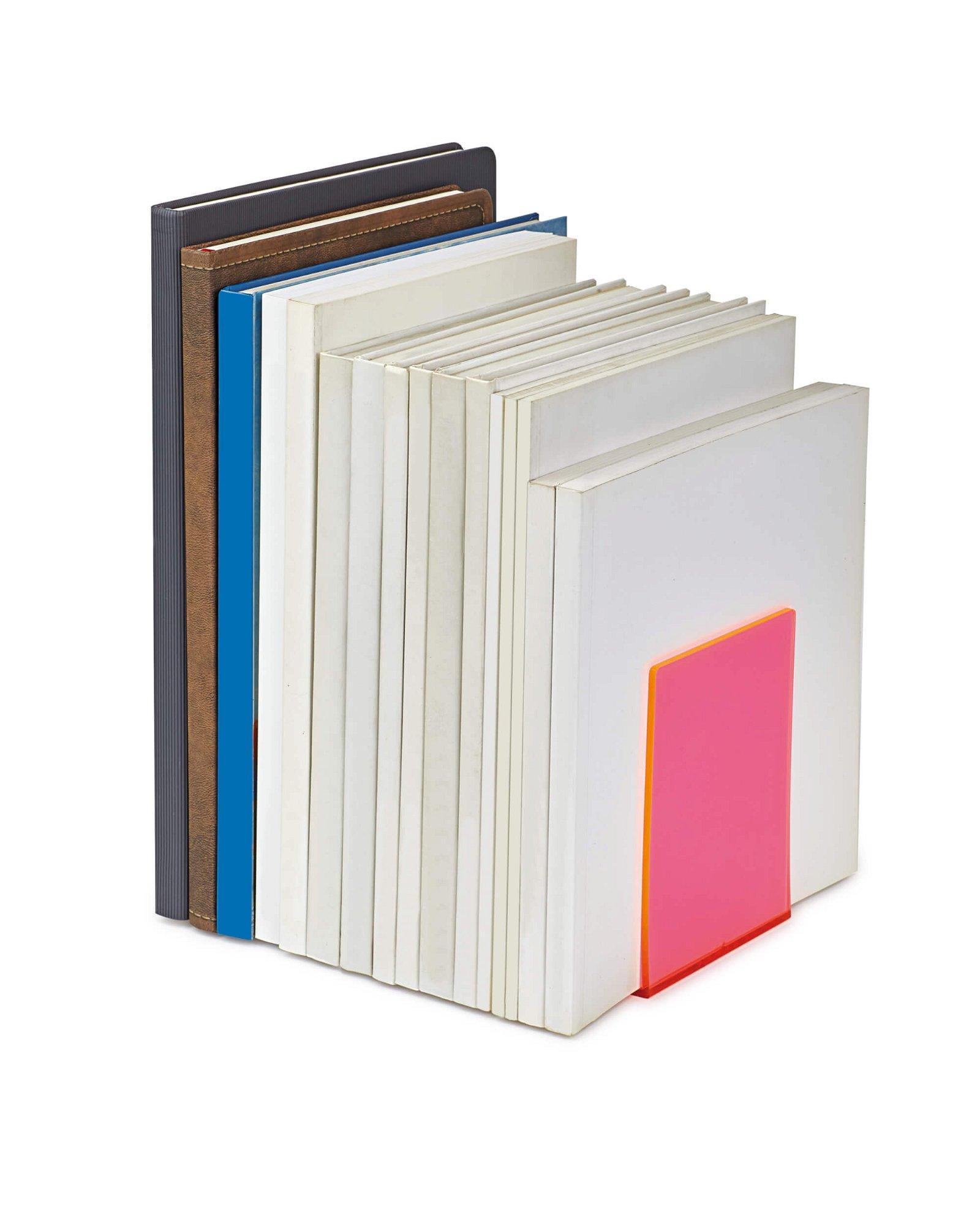 Buchstützen aus Acryl, Neon, pink