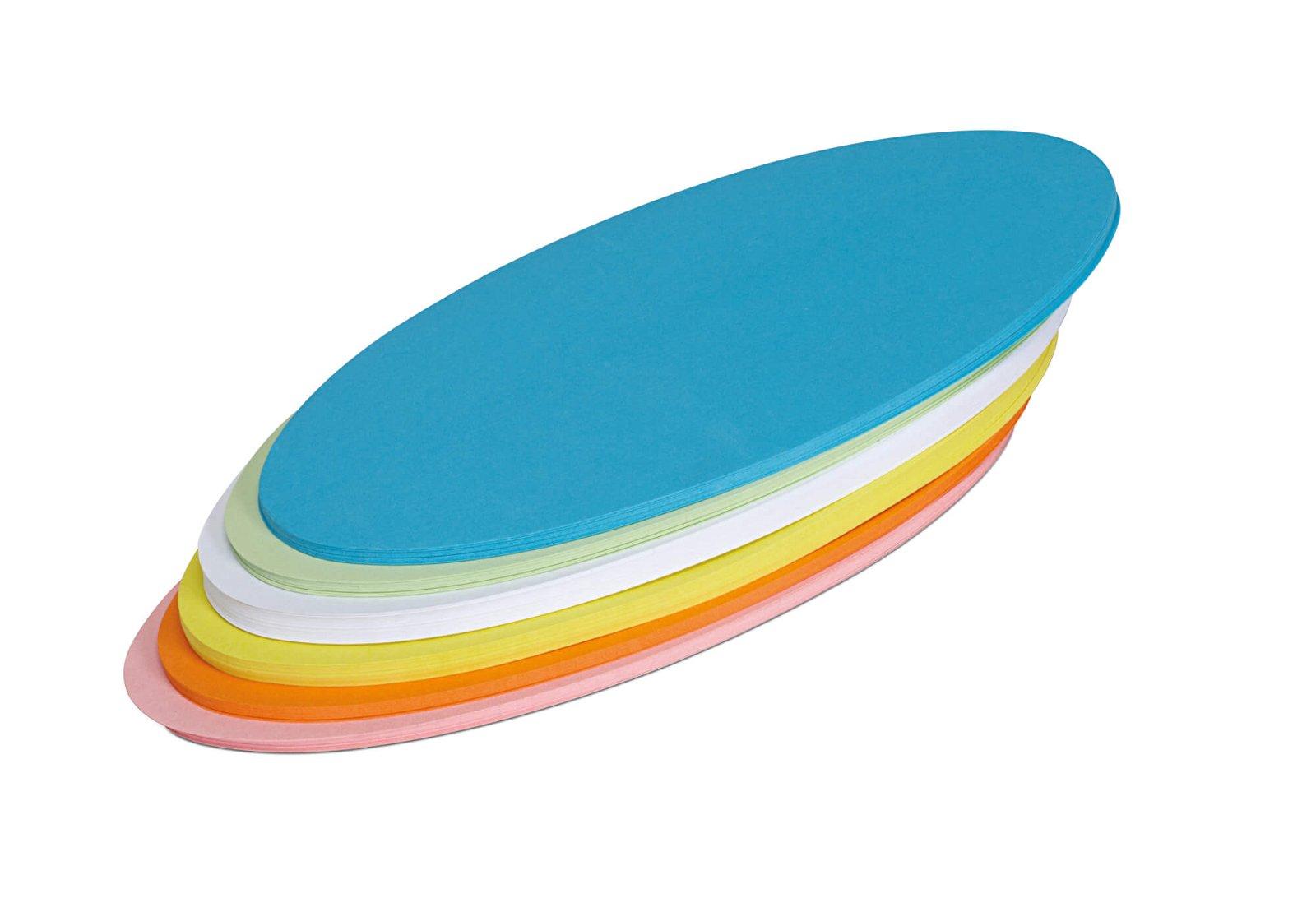 Moderationskarten oval, 11 x 19 cm, 120 St./Pack, farbig sortiert