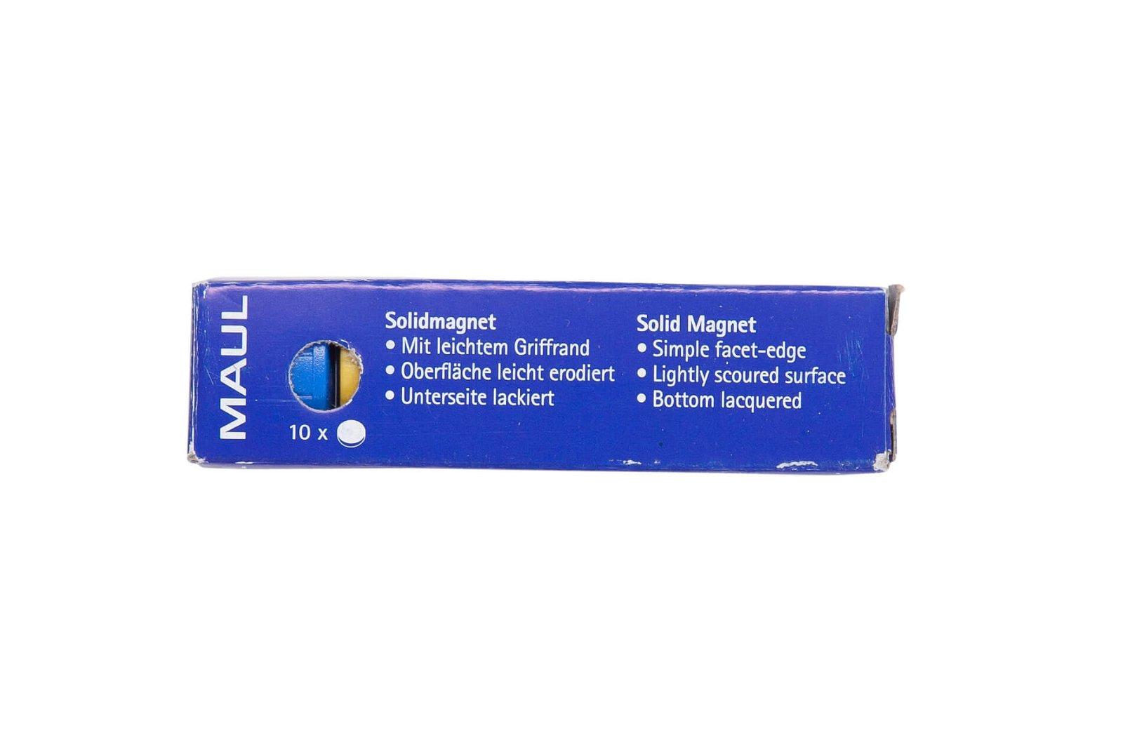 Magnet MAULsolid Ø 20 mm, 0,3 kg Haftkraft, 10 St./Ktn., farbig sortiert