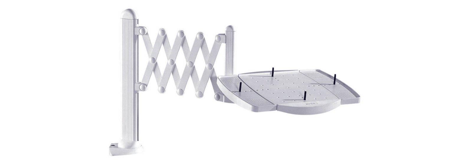 Telefon-Scherenarm elegant, mit Multifunktions-Platte, grau