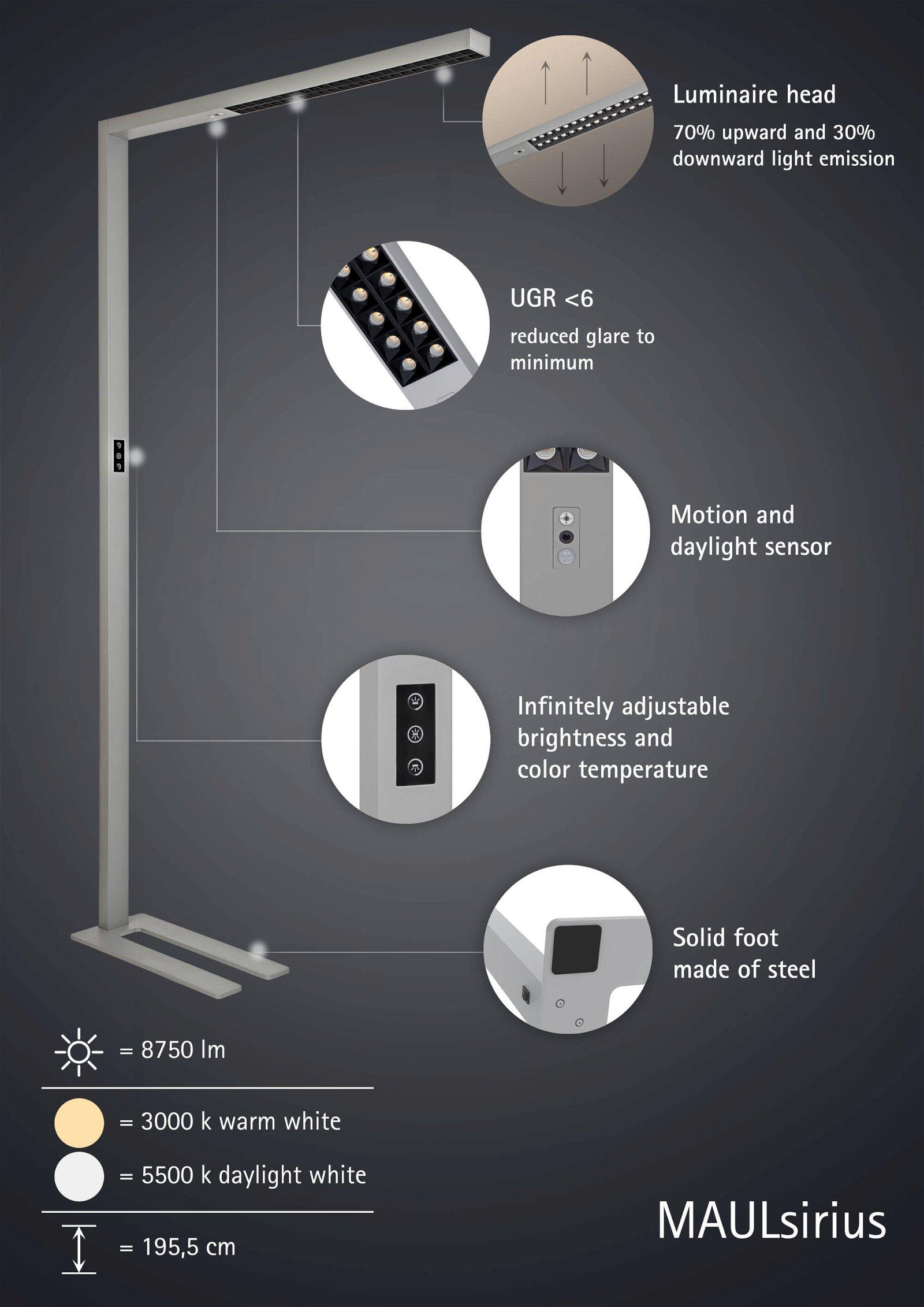 LED-Standleuchte MAULsirius colour vario sensor, dimmbar