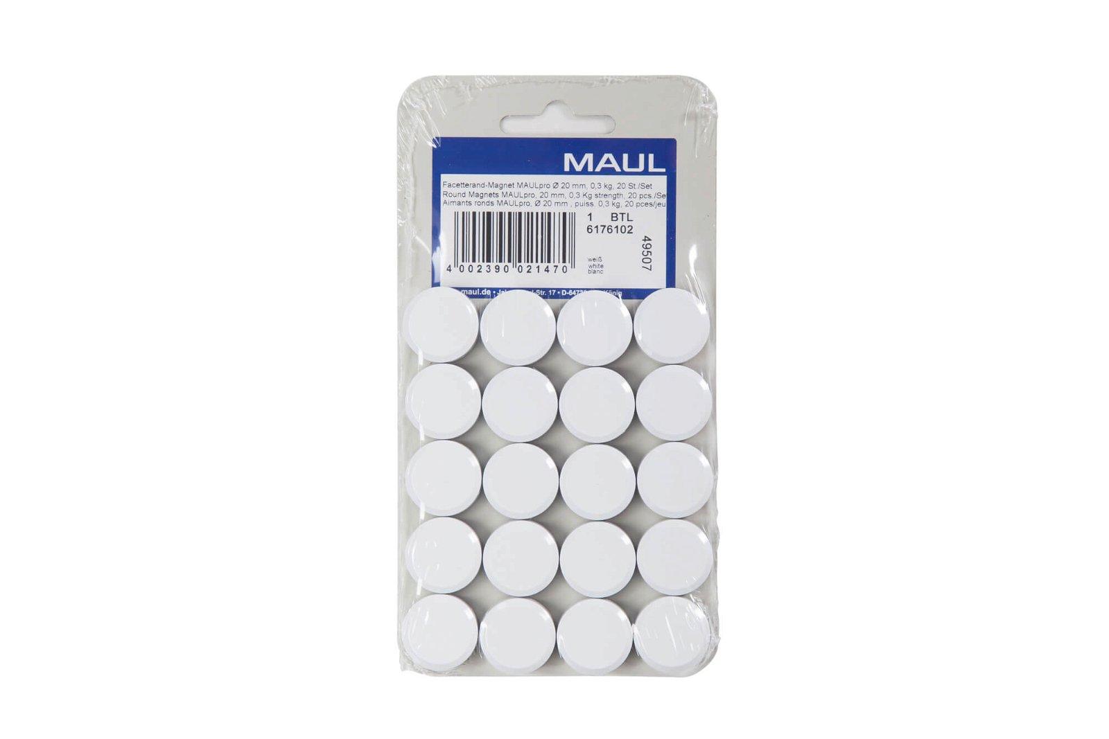 Facetterand-Magnet MAULpro Ø 20 mm, 0,3 kg, 20 St./Set, weiß