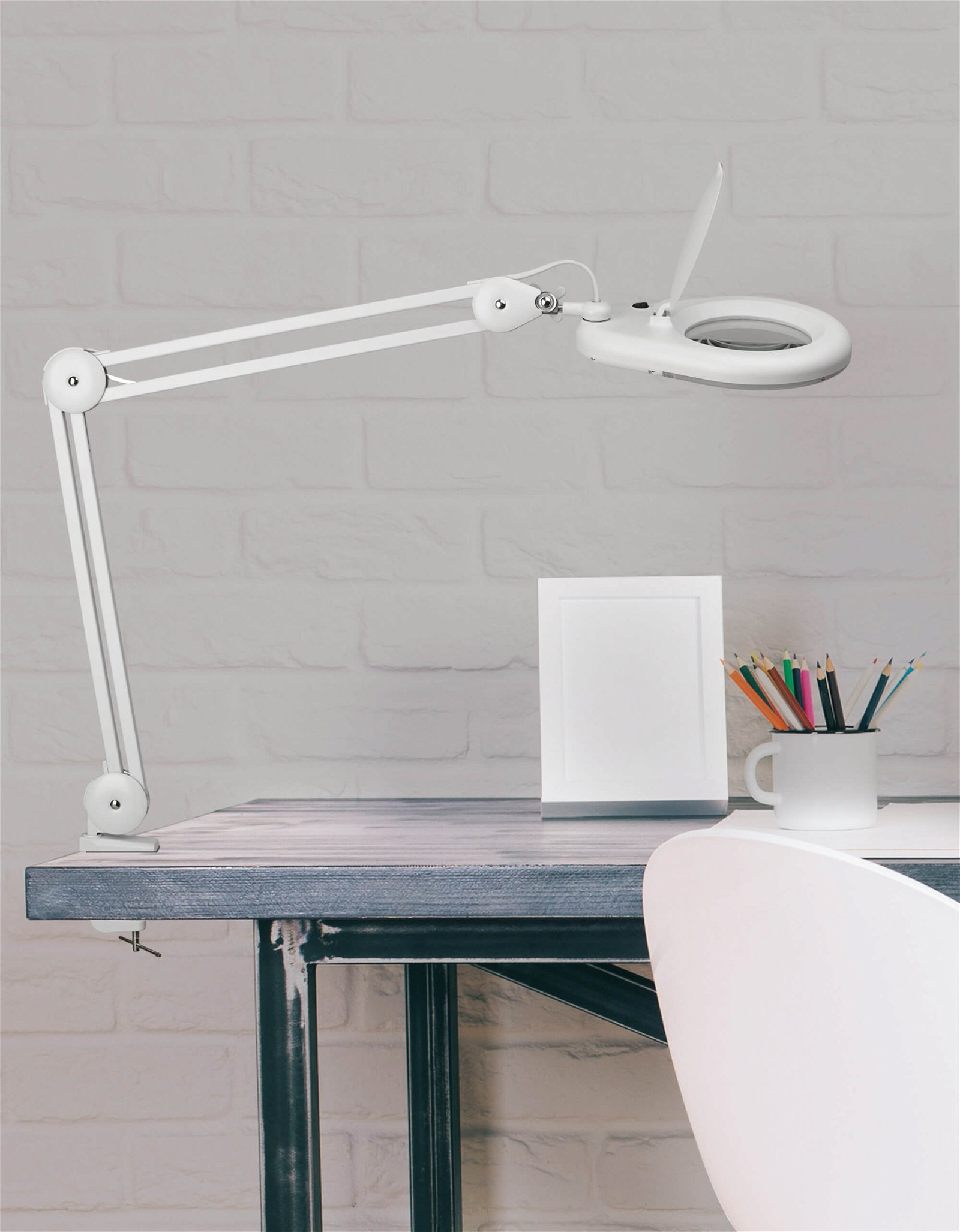 LED-Lupenleuchte MAULviso, mit Klemmfuß, weiß