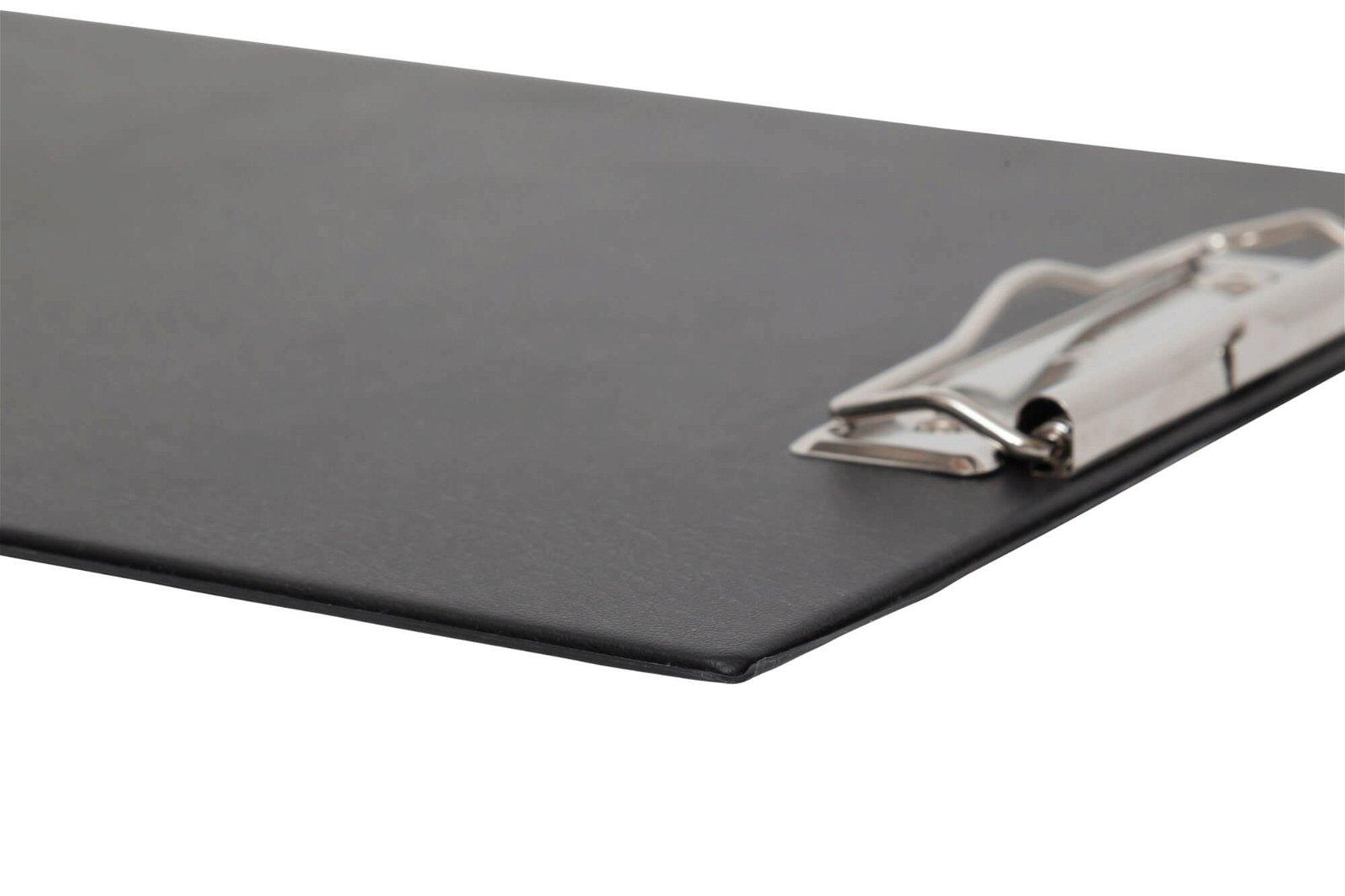 A4 Schreibplatte mit Folien- überzug und Klarsichtfach, schwarz