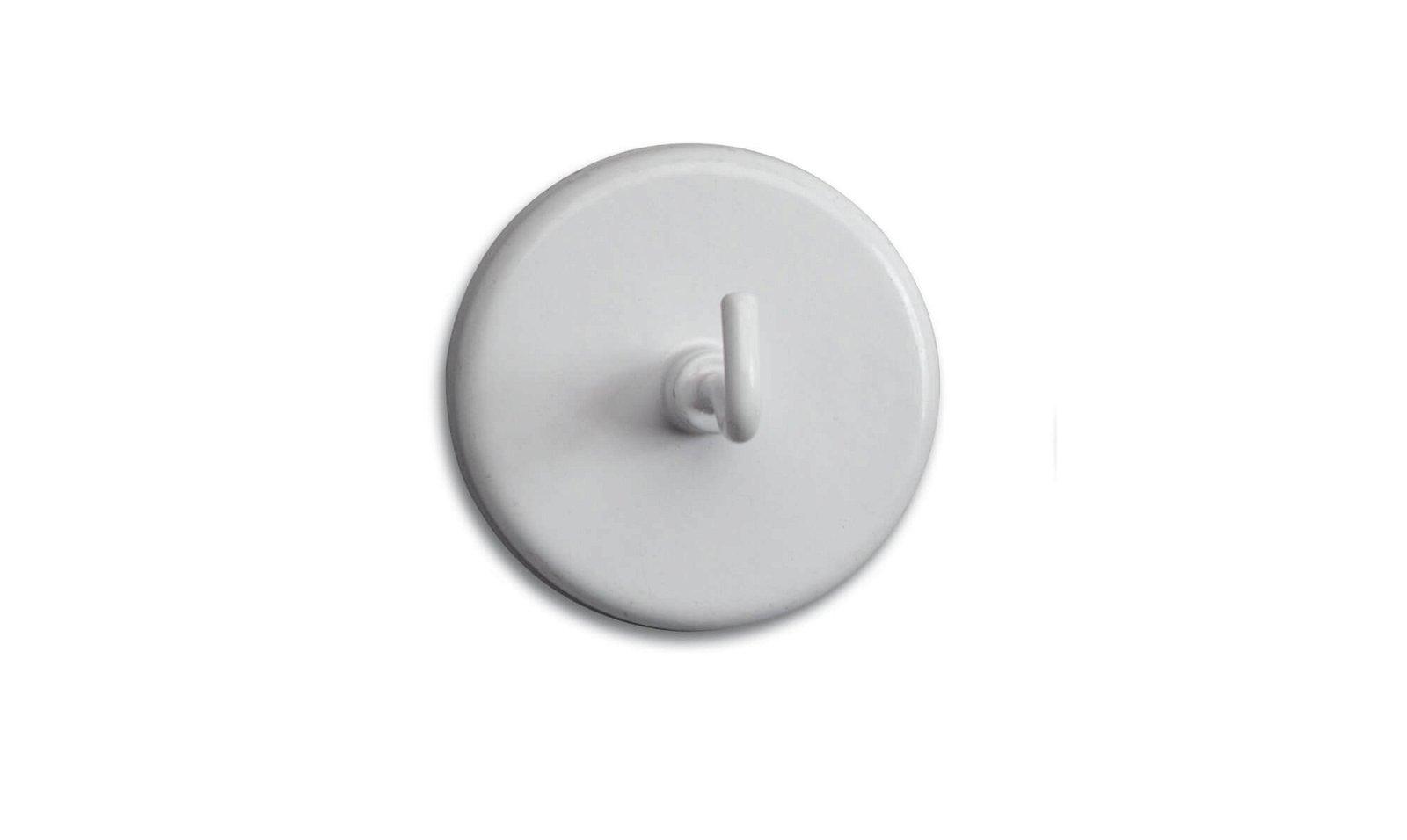 Kraftmagnet mit Haken Ø 47 mm, 12 kg Haftkraft, 5 St./Btl., weiß