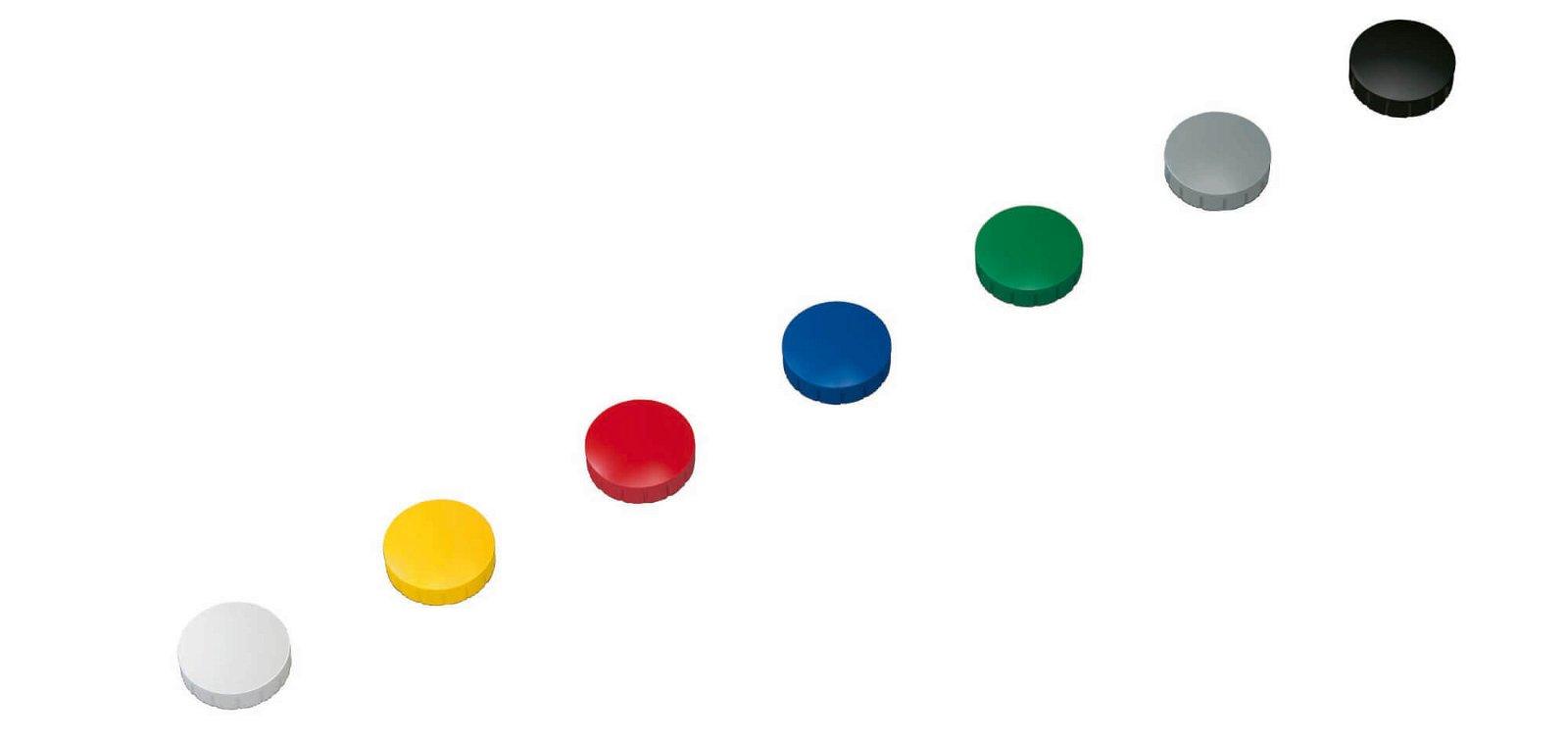 Magnet MAULsolid Ø 24 mm, 0,6 kg Haftkraft, 10 St./Ktn., farbig sortiert