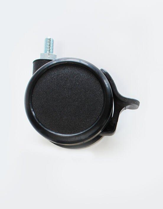 Doppellaufrollen mit Bremse Durchmesser 65 mm, schwarz