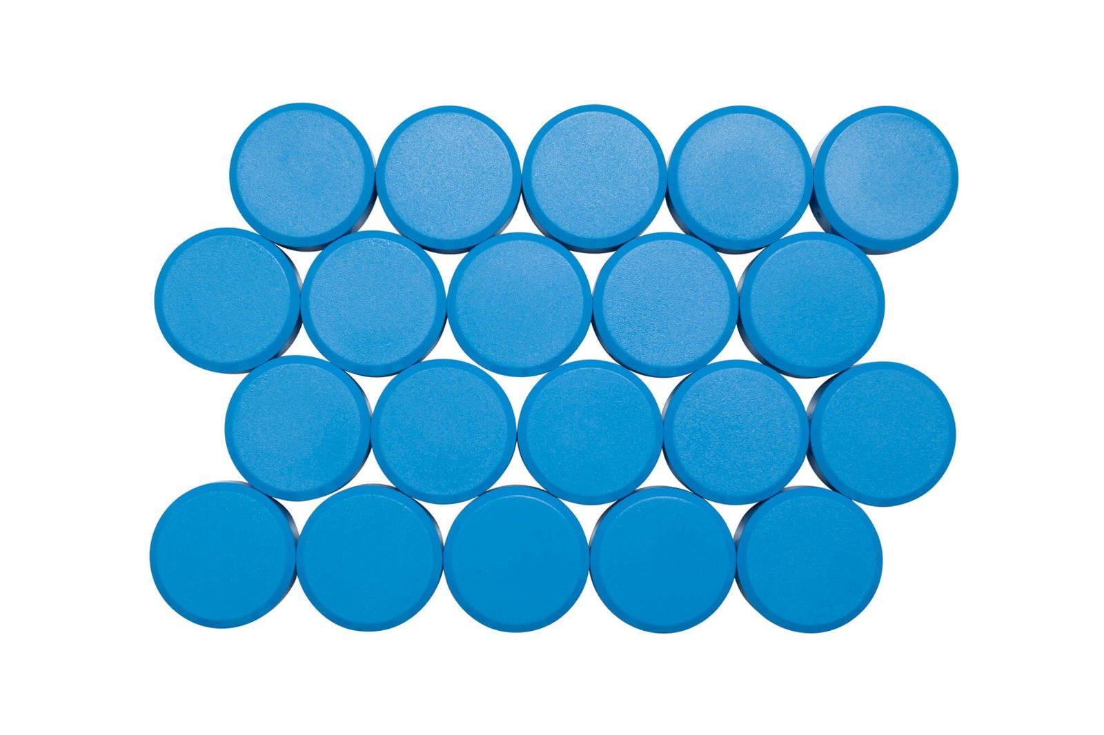Facetterand-Magnet MAULpro Ø 30 mm, 0,6 kg, 20 St./Set, hellblau