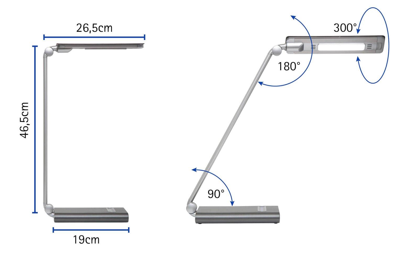 LED-Tischleuchte MAULpure, dimmbar, silber