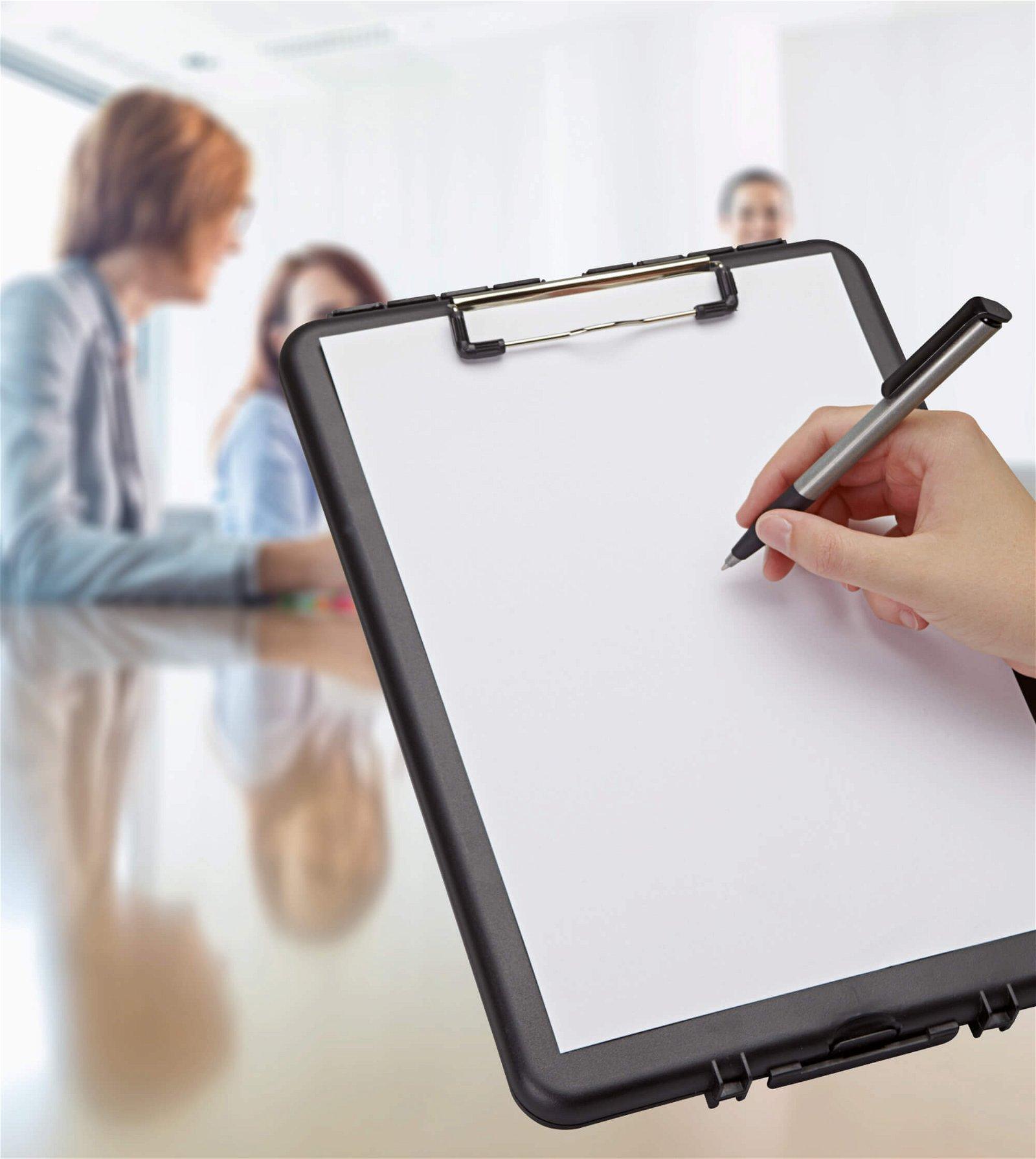 Schreibplatte A4 Kunststoff mit Aufbewahrungsfach, schmal, schwarz