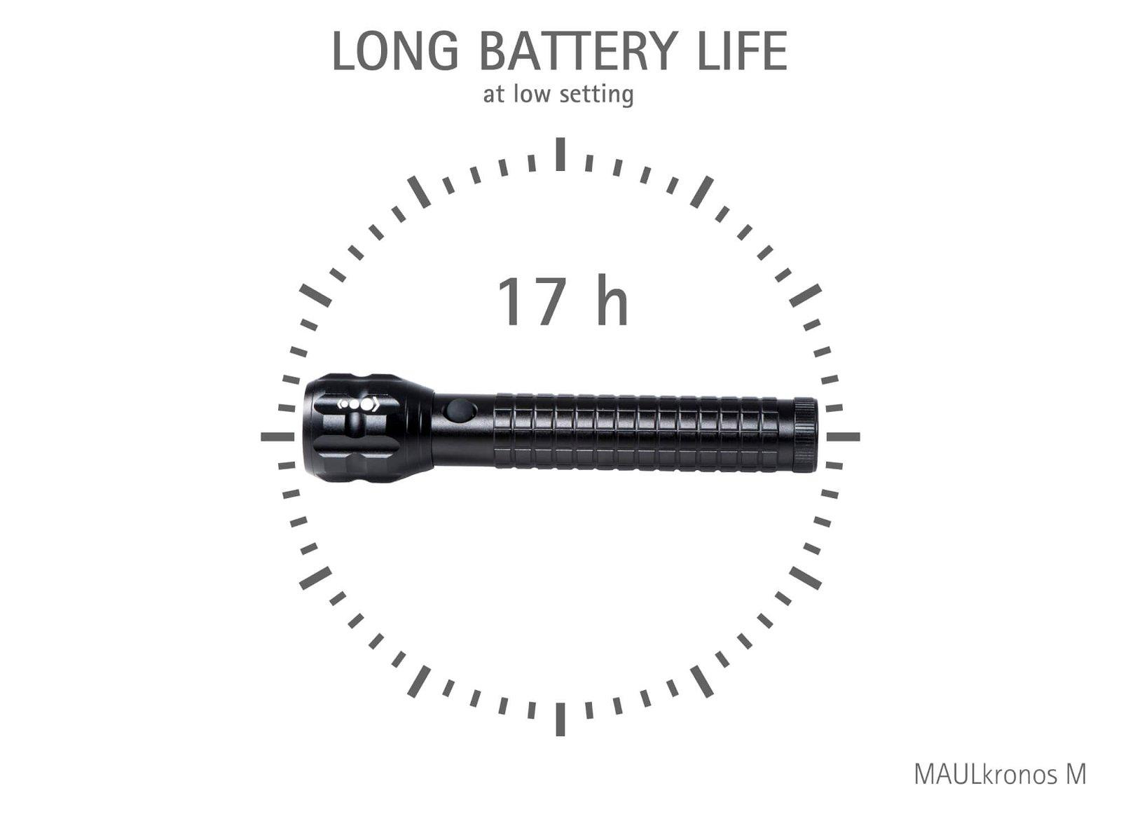 LED-Taschenlampe MAULkronos M - Leuchtdauer