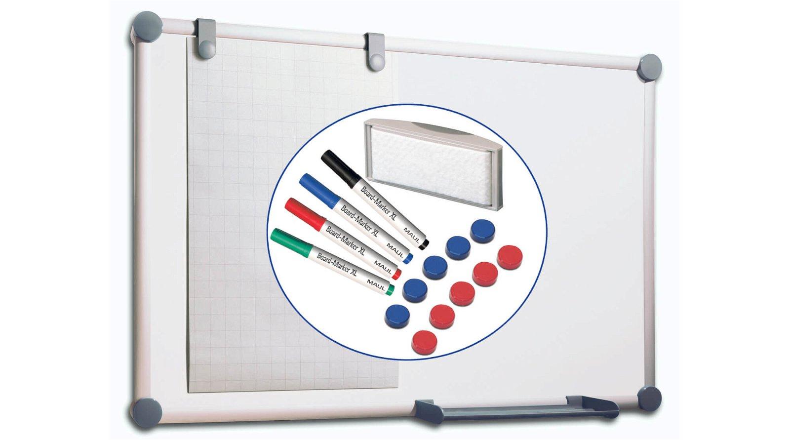 Whiteboard 2000 MAULpro, Komplett-Set, 90x120 cm, grau