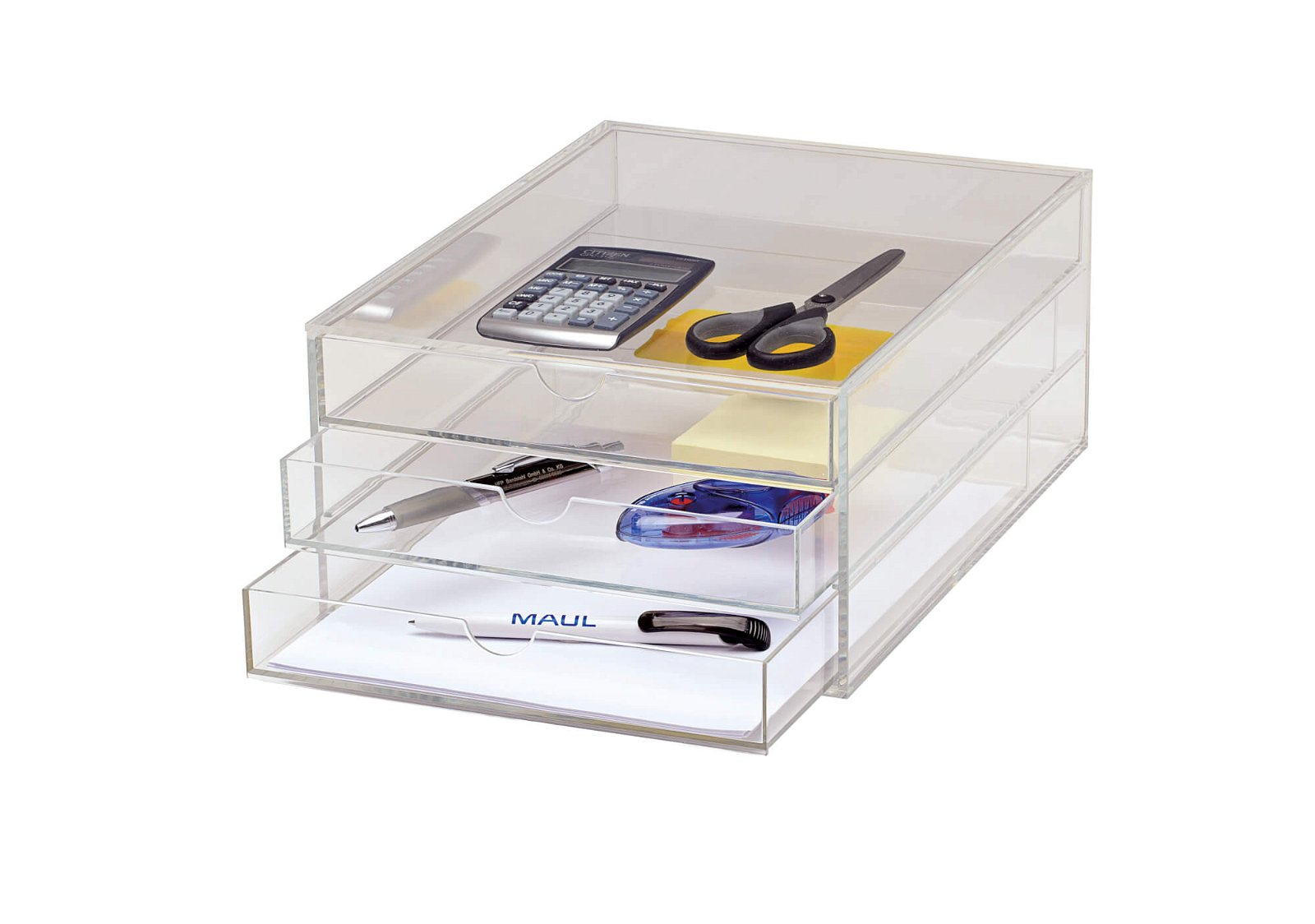 Acryl-Schubladenbox, DIN A4, 3 Laden, glasklar