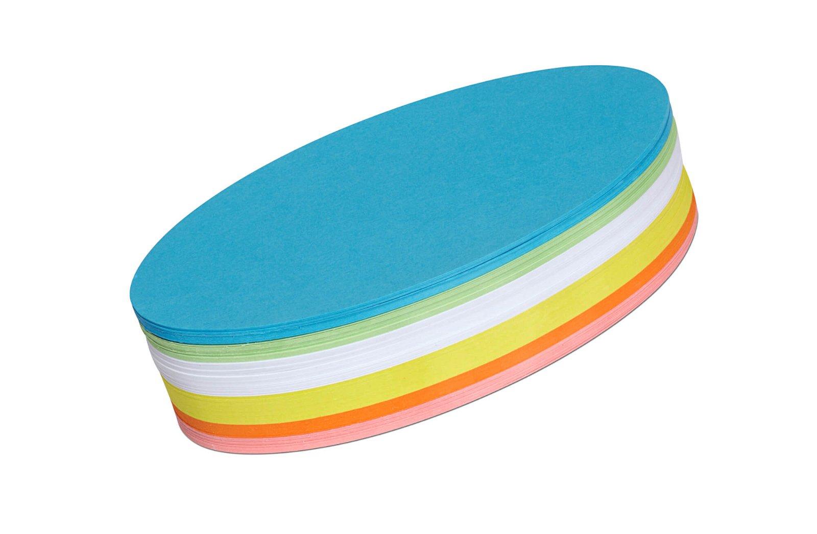 Moderationskarten oval, 11 x 19 cm, 250 St./Pack, farbig sortiert