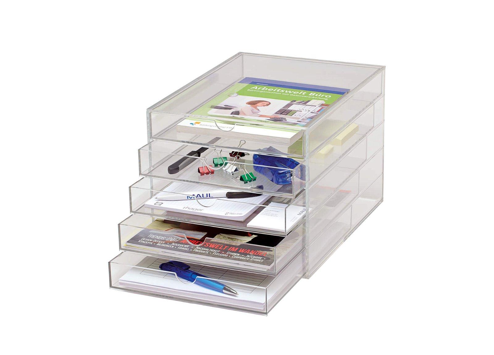 Acryl-Schubladenbox, DIN A4, 5 Laden, glasklar