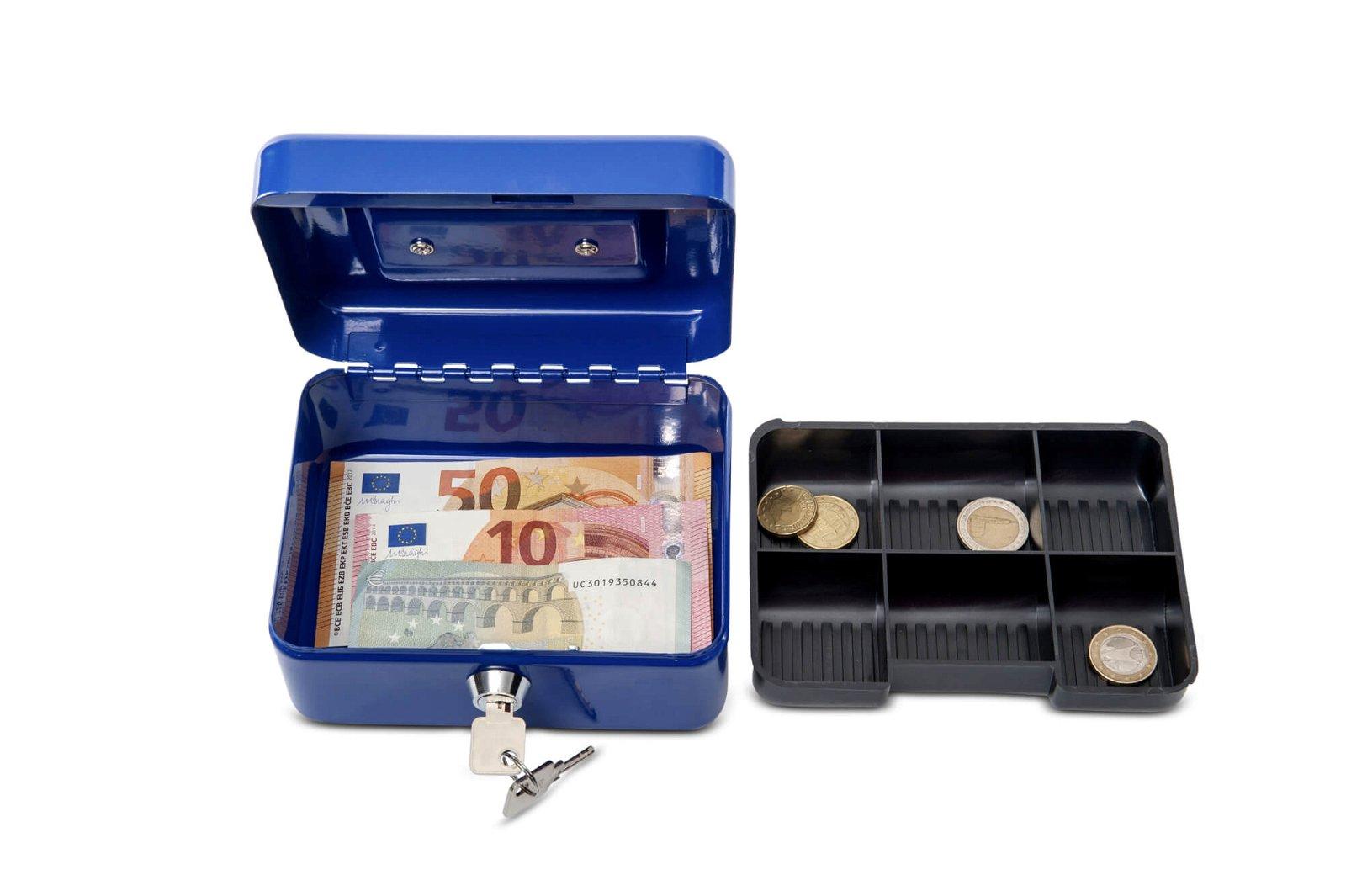 Geldkassette 1, 15,2 x 12,5 x 8,1 cm, blau